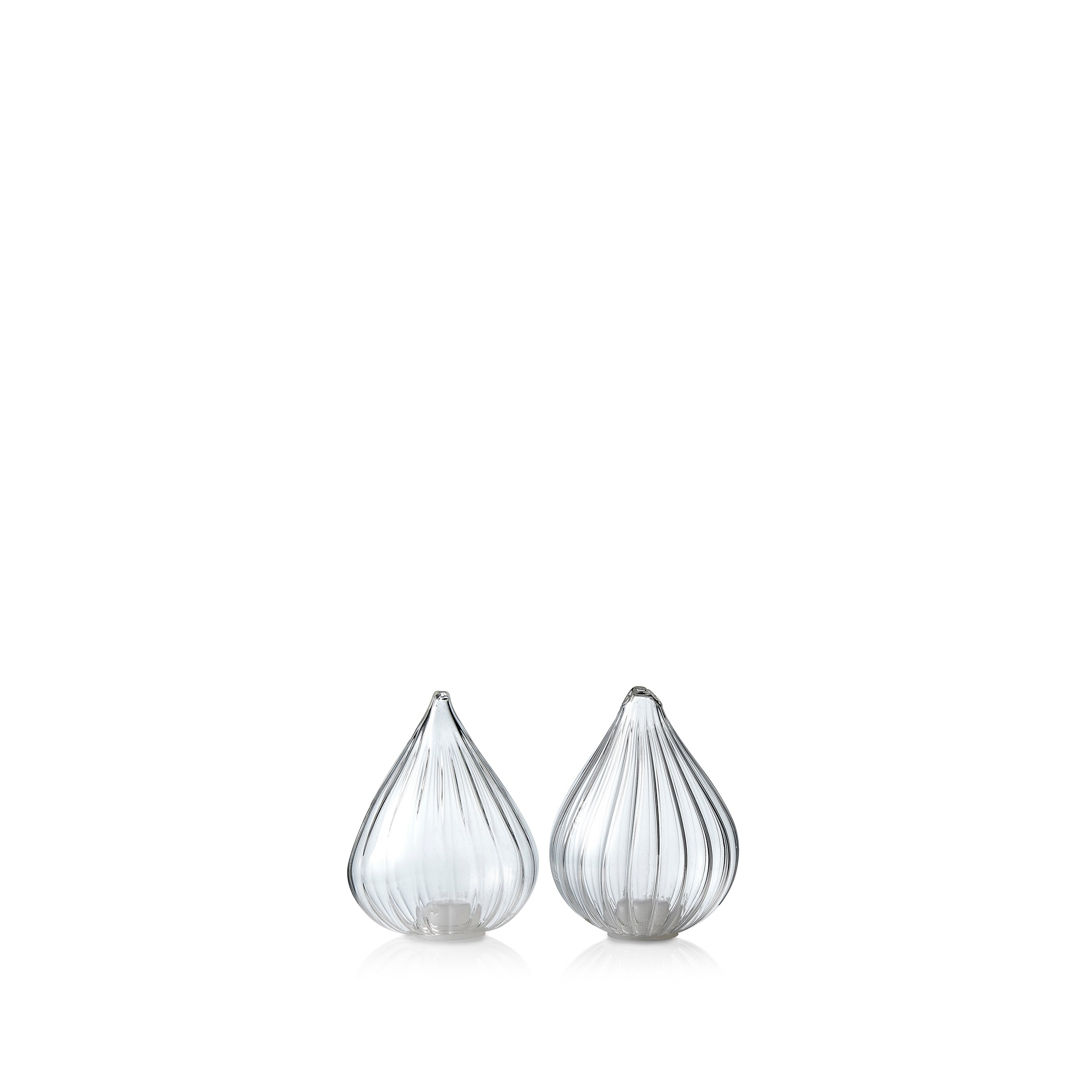 Handblown Glass Teardrop Salt & Pepper Shakers