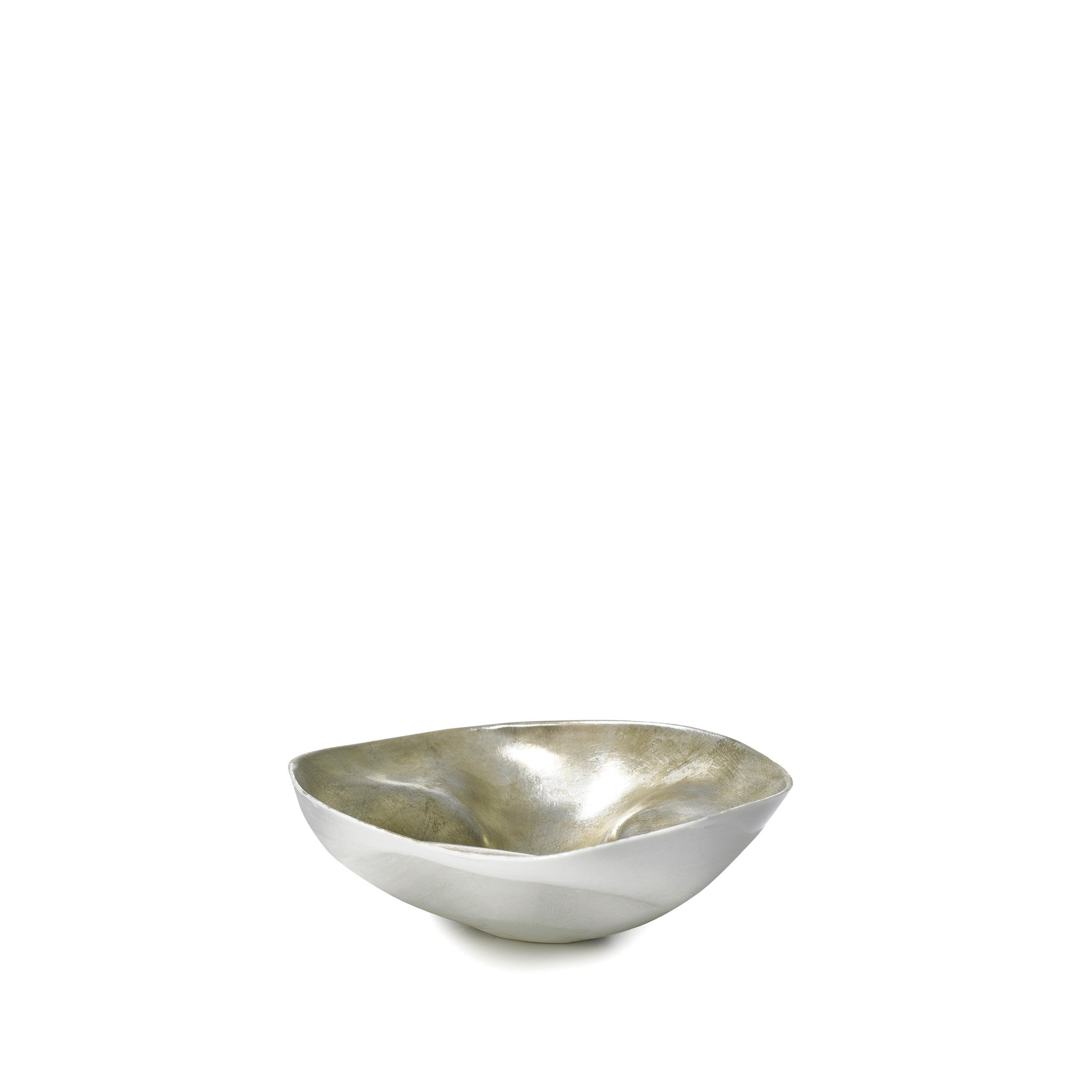 Small Porcelain Shell Bowl in Matte Silver, 13cm