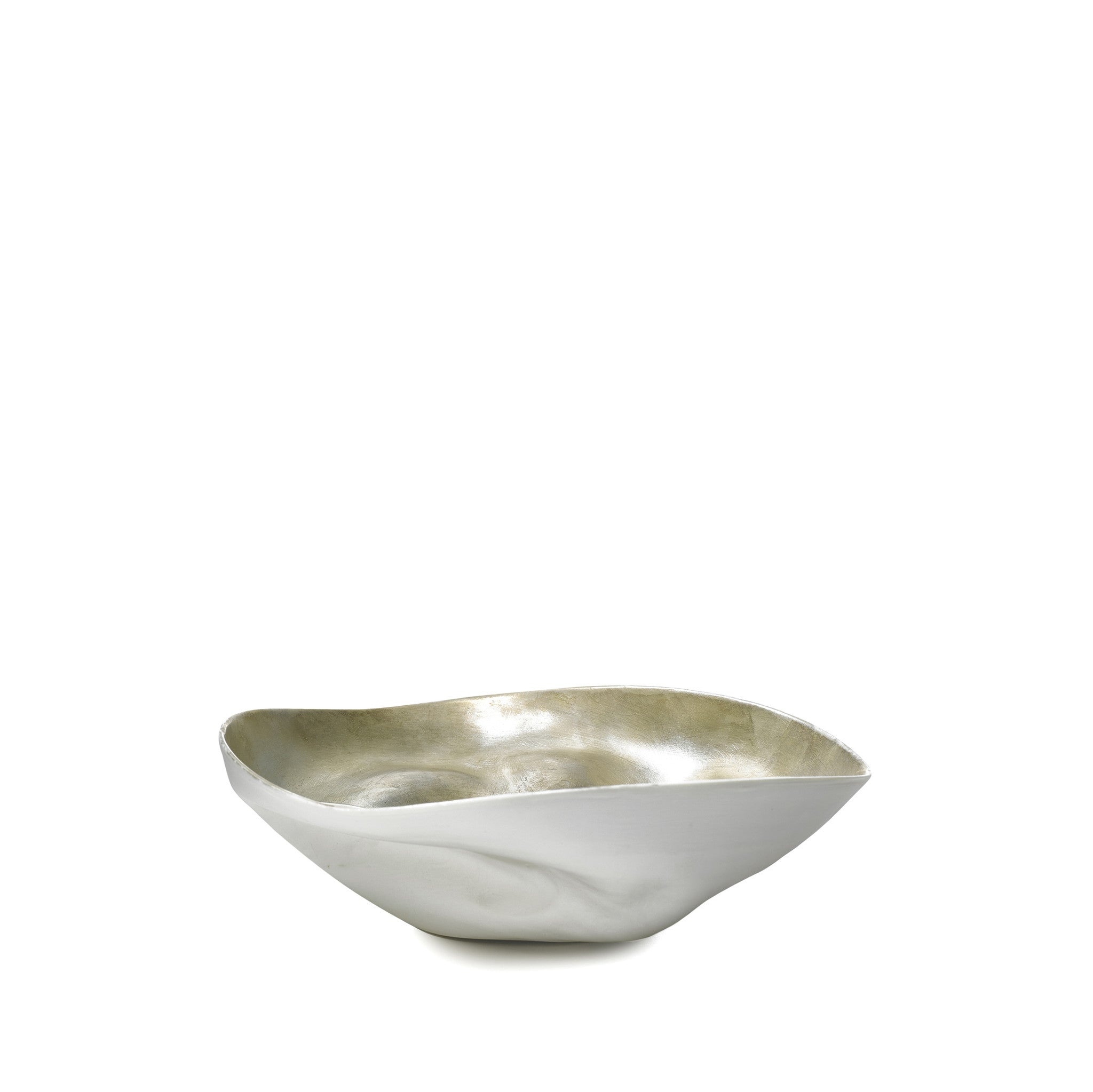 Medium Porcelain Shell Bowl in Matte Silver, 18cm