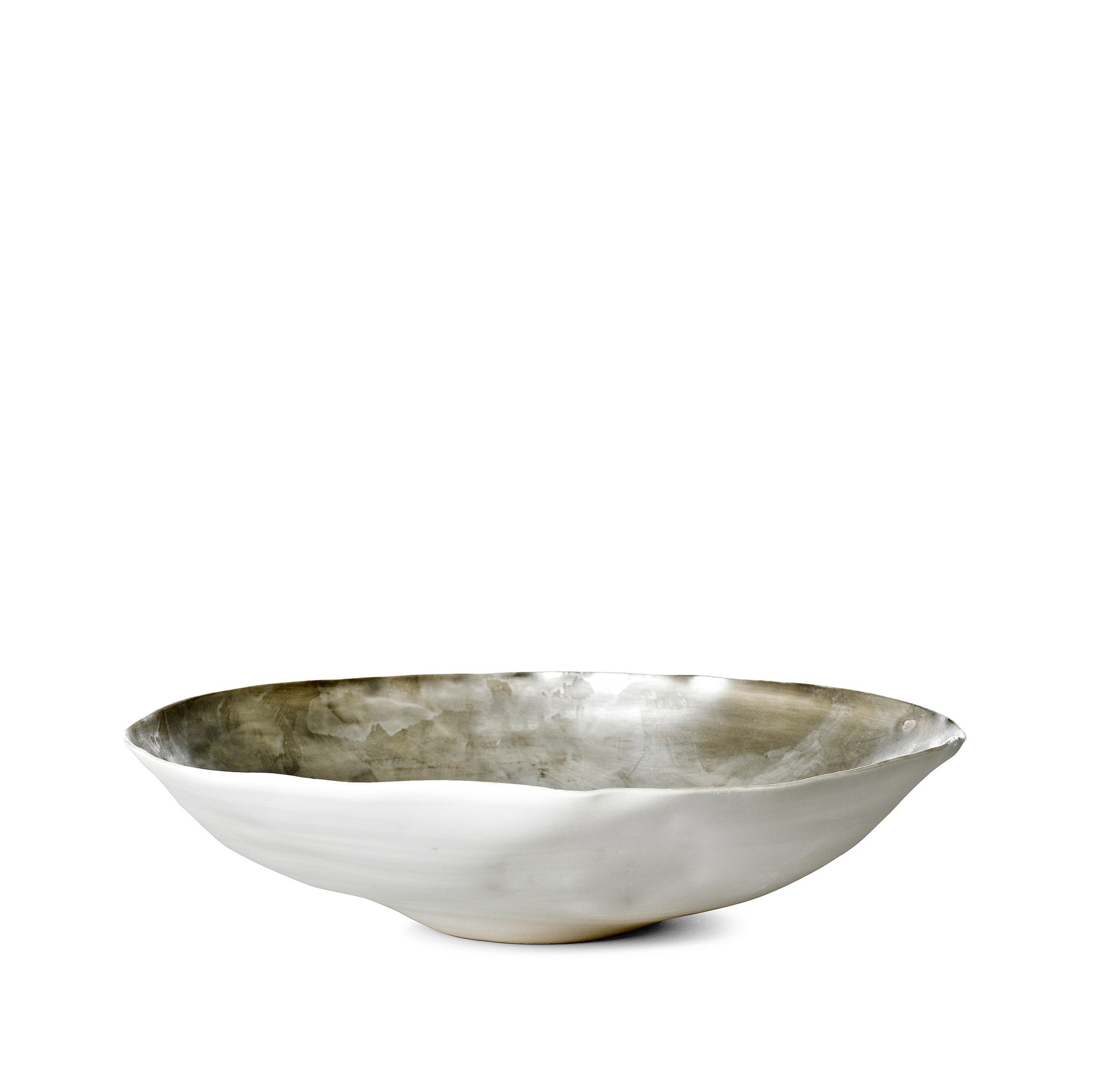 Large Ceramic Shell Bowl in Matte Silver, 30cm