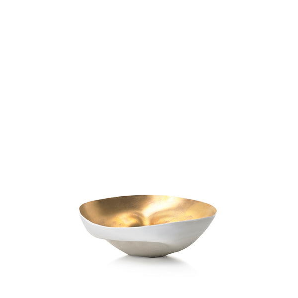 Small Porcelain Shell Bowl in Gold, 13cm