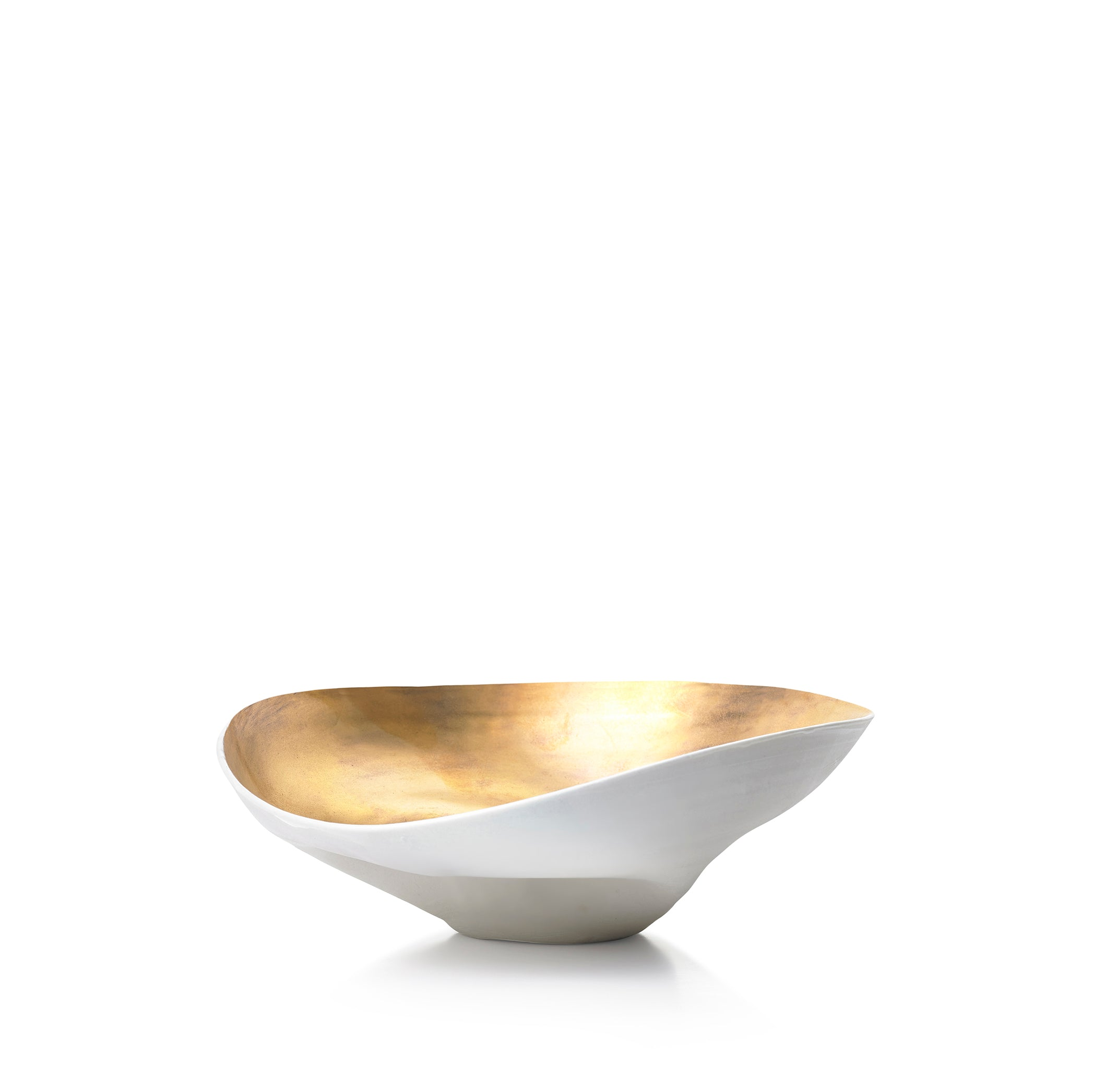 Medium Porcelain Shell Bowl in Gold, 18cm