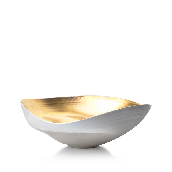 Large Ceramic Shell Bowl in Gold, 30cm