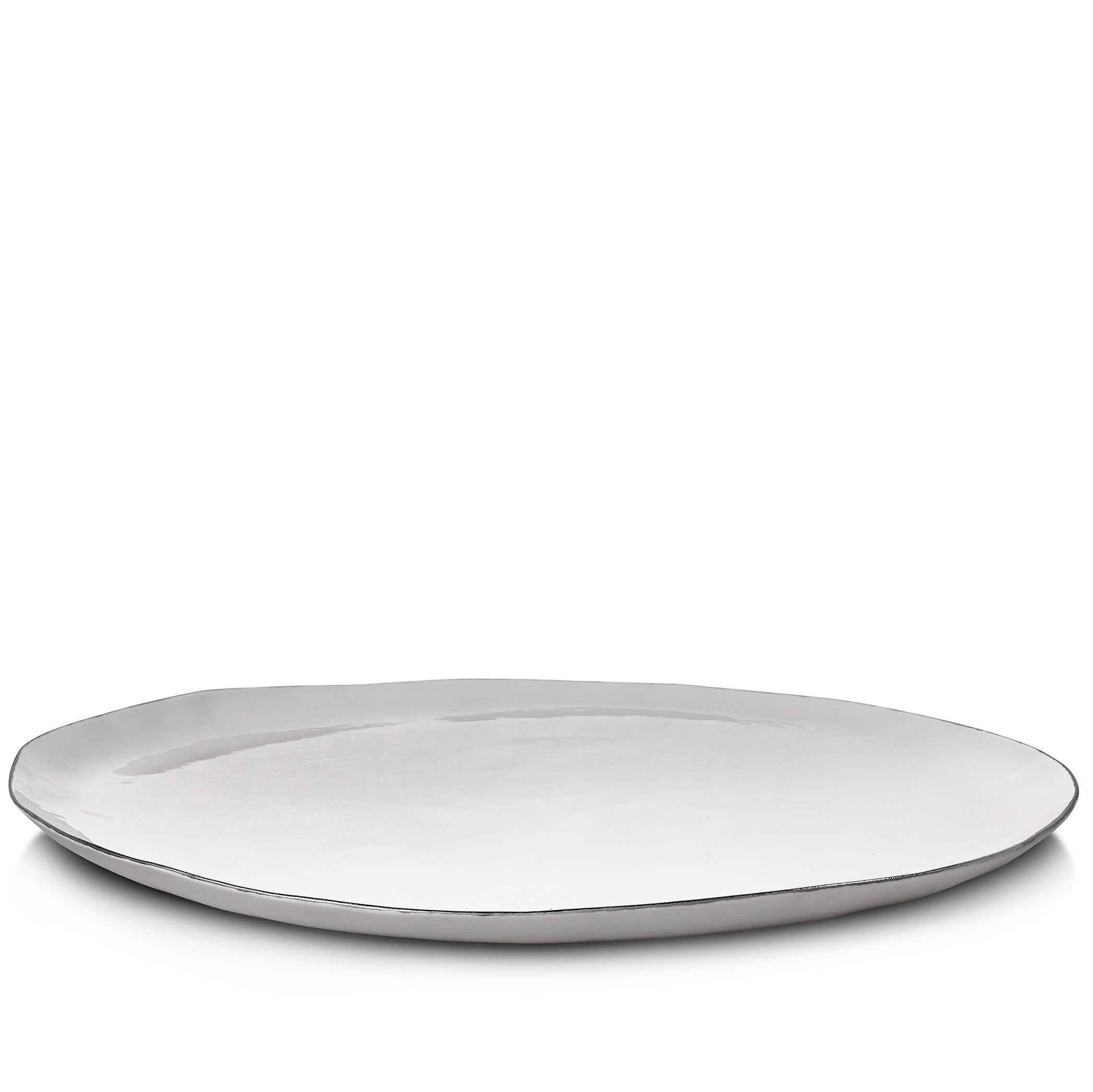 S&B Handmade 46cm Porcelain Extra Large Platter with Silver Rim