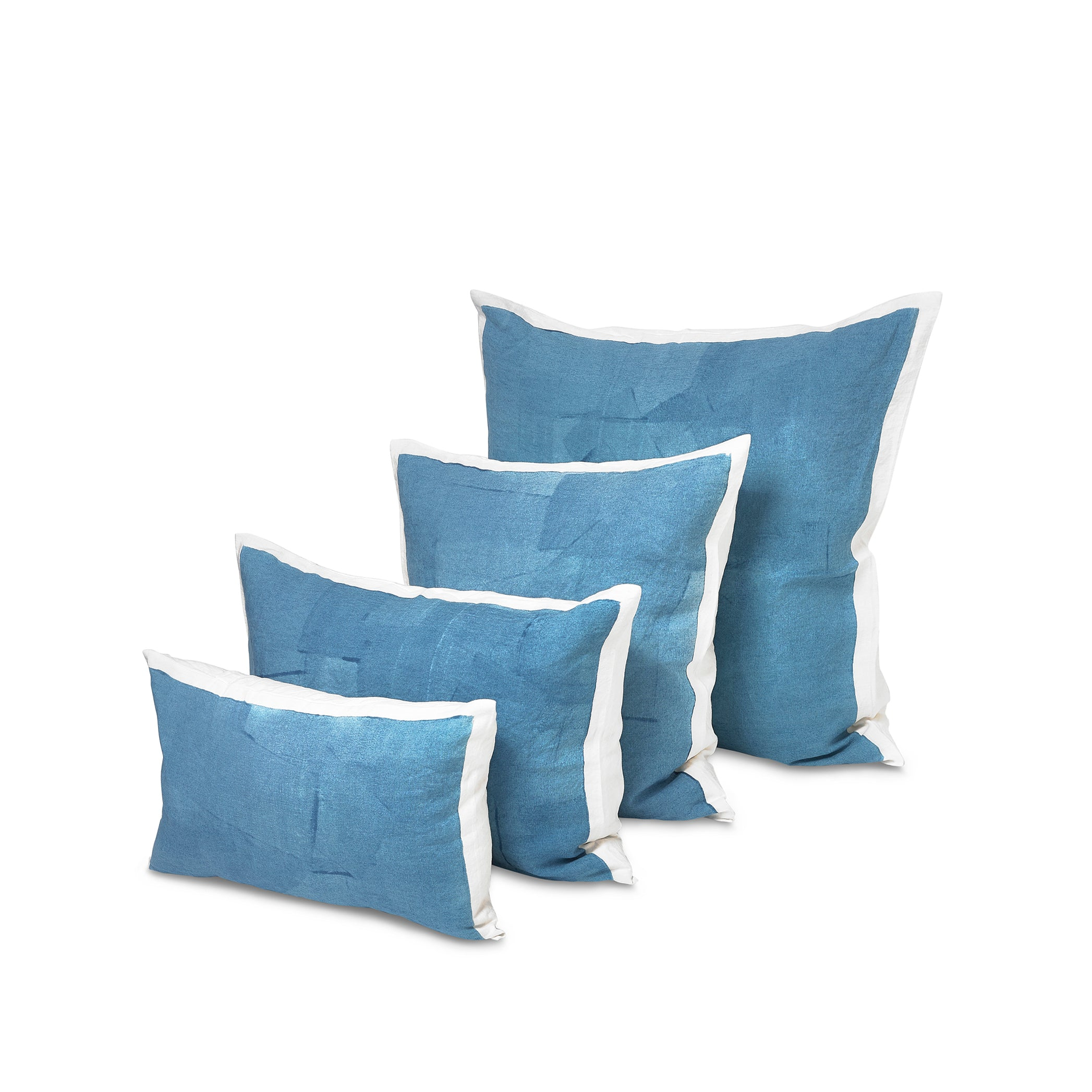 Hand Painted Linen Cushion Cover in Sky Blue, 60cm x 60cm