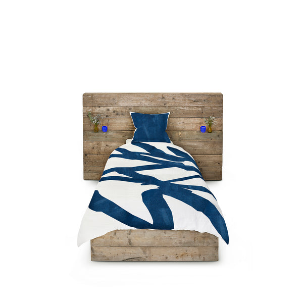 Bespoke Word Linen Duvet Cover in Midnight Blue, Single
