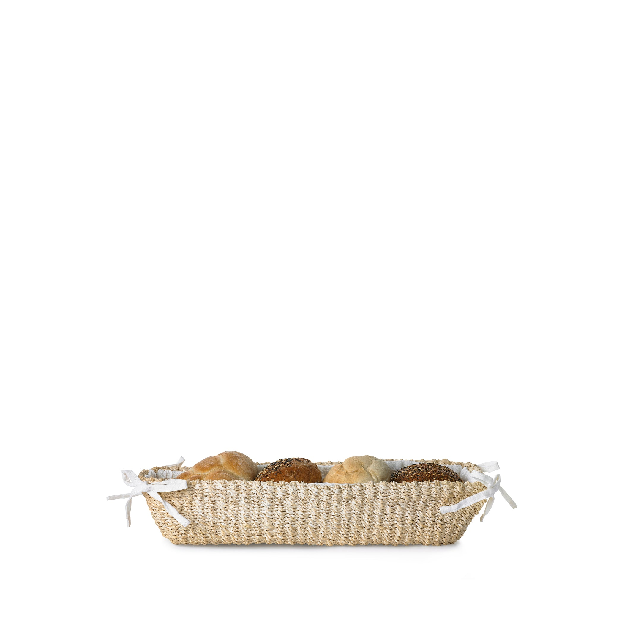 Abaca Woven Bread Basket in Cream