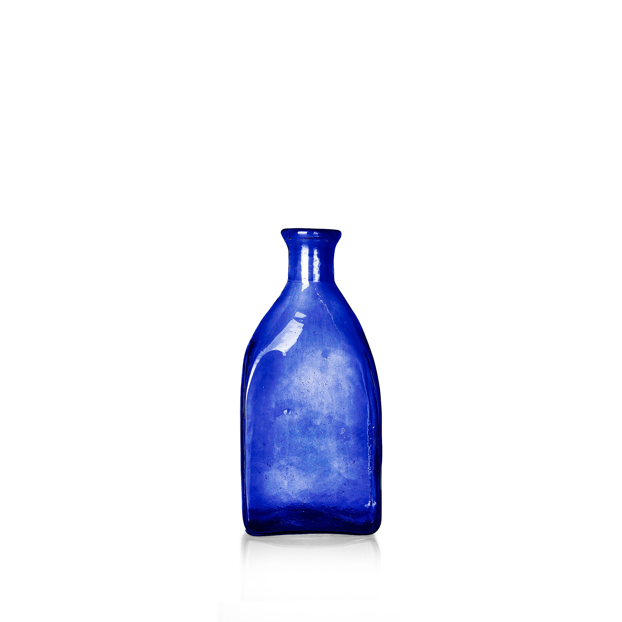 Handblown Glass Small Square Carafe in Blue