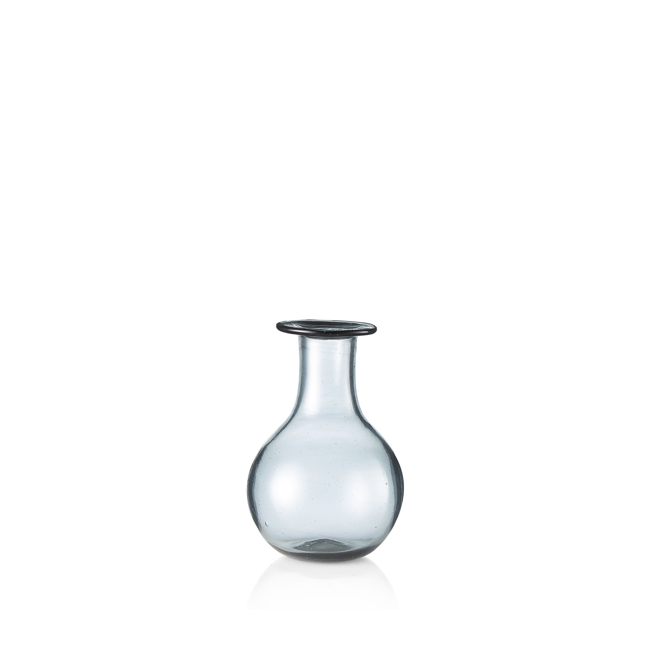 Handblown Small Round Bud Vase in Smokey Grey