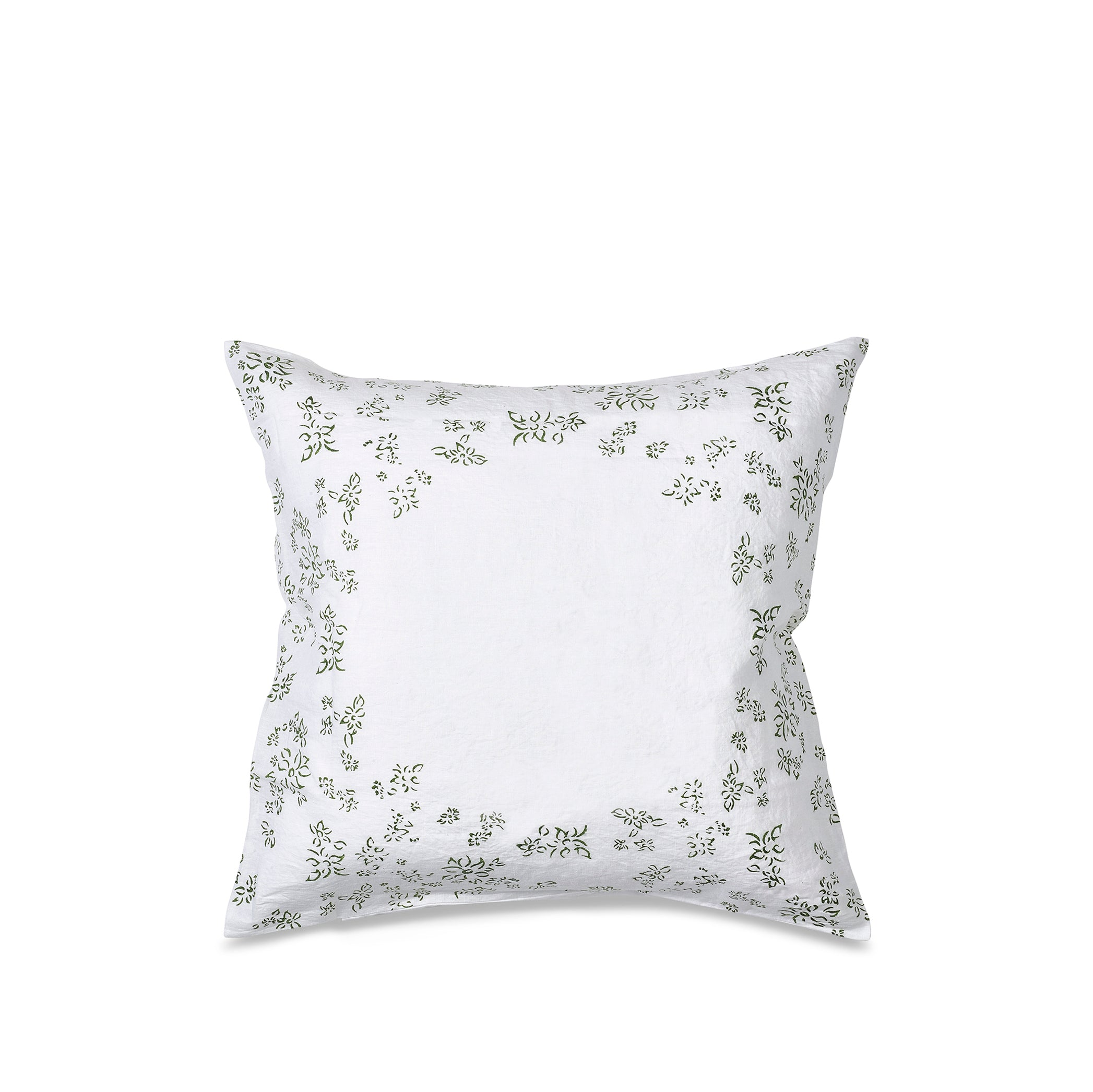 """Bernadette's Hand Stamped Falling Flower"" Linen Square Pillowcase in Avocado Green"