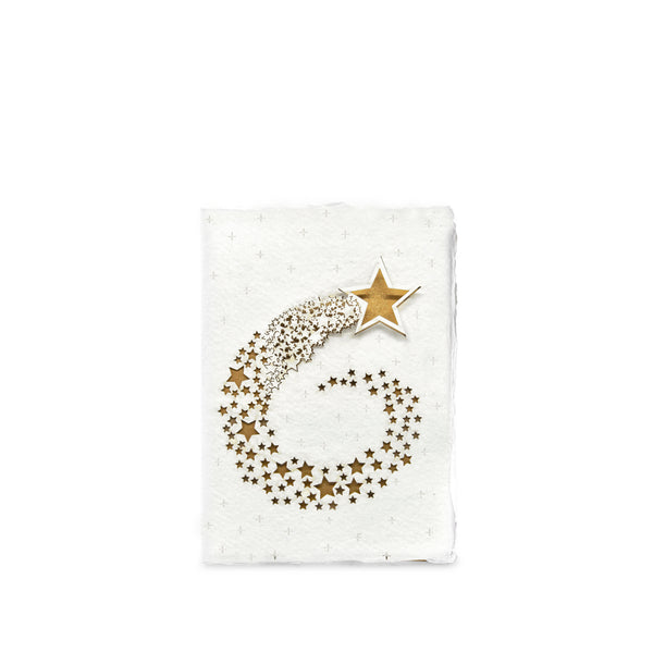 Handmade Paper Greeting Card with Falling Star