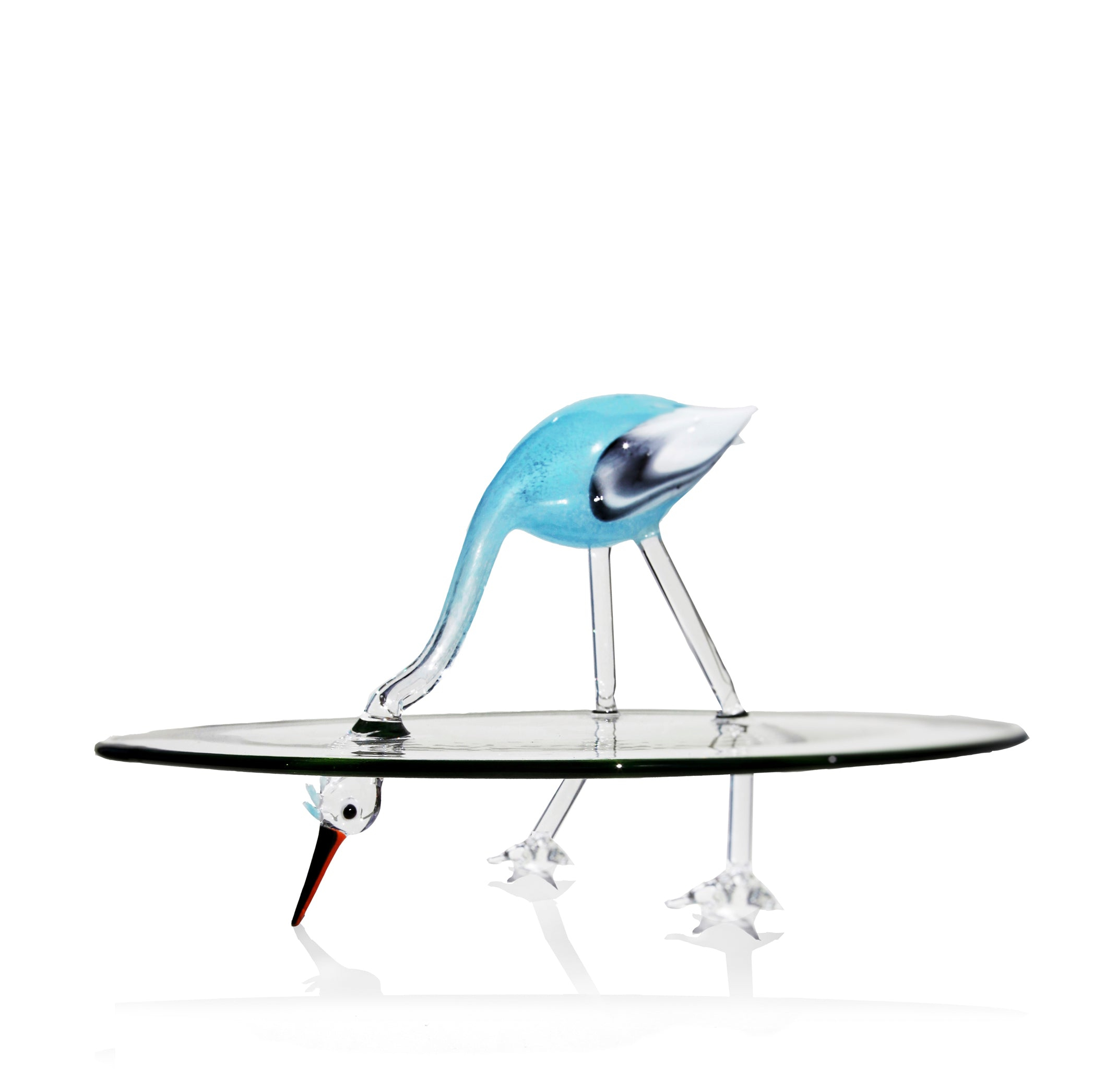 Handblown Glass Stork Cake Stand