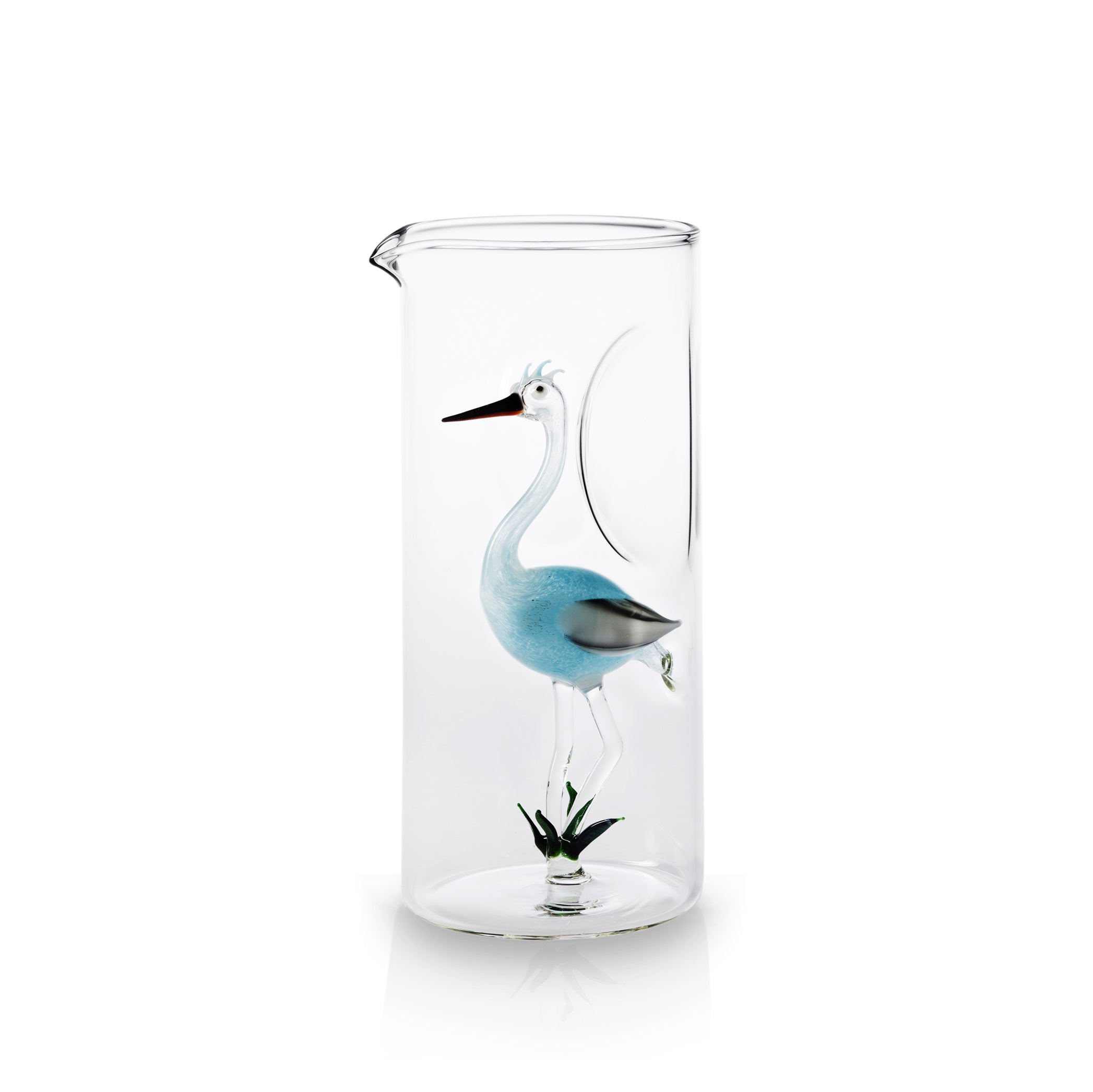 Handblown Glass Stork Carafe