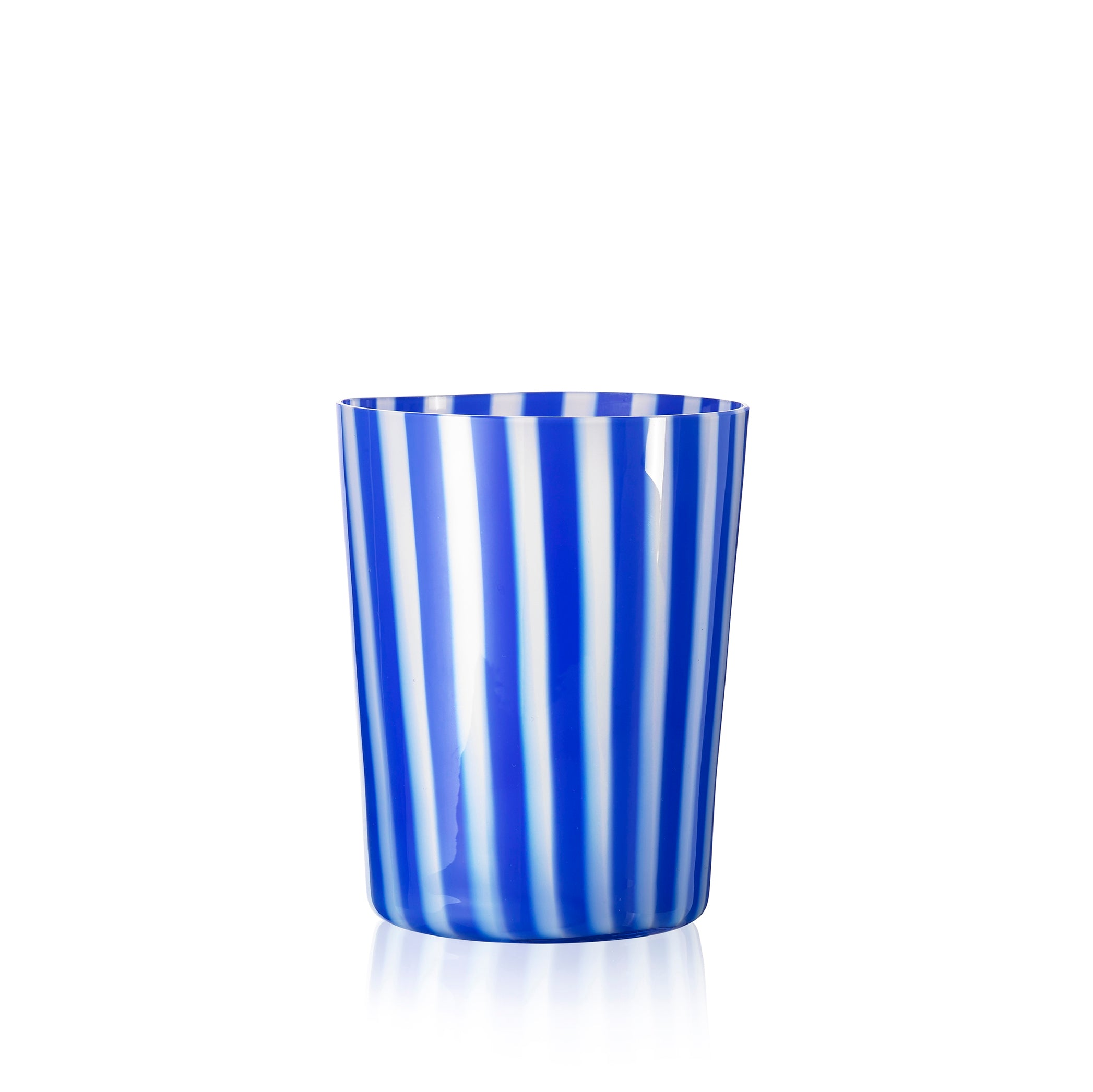 Handblown 'Pastelli' Glass Tumbler, Designed by LPWK in Dark Blue and White Stripe