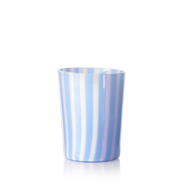 Set of Six Handblown 'Pastelli' Glass Tumblers, Designed by LPWK in Light Blue and White Stripe