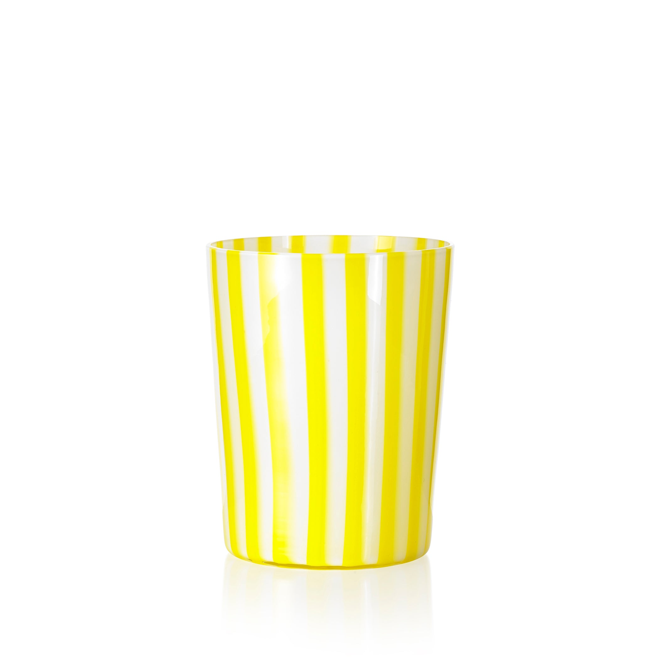 Set of Six Handblown 'Pastelli' Glass Tumblers, Designed by LPWK in Yellow and White Stripe