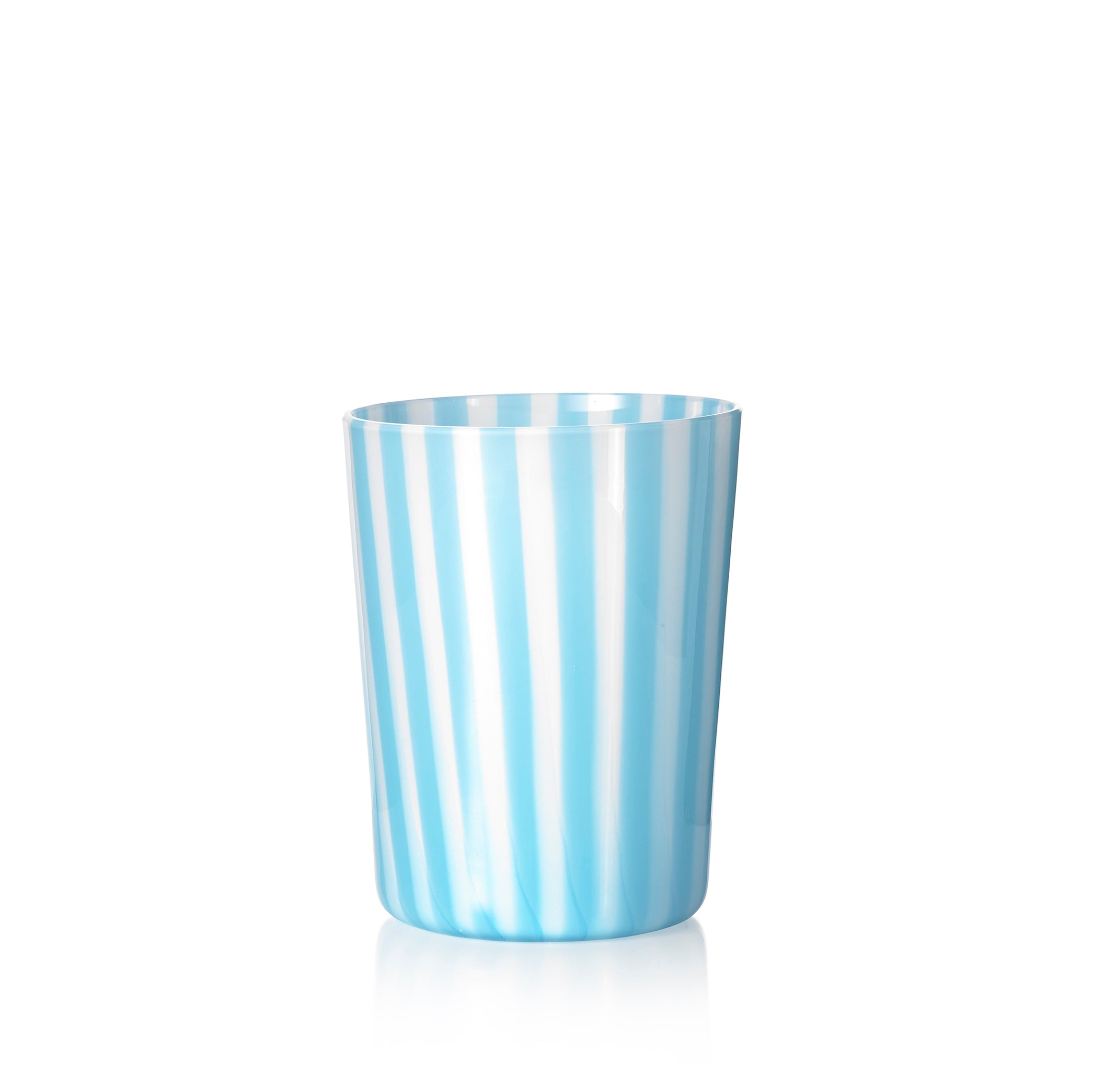 Set of Six Handblown 'Pastelli' Glass Tumblers, Designed by LPWK in Turquoise and White Stripe