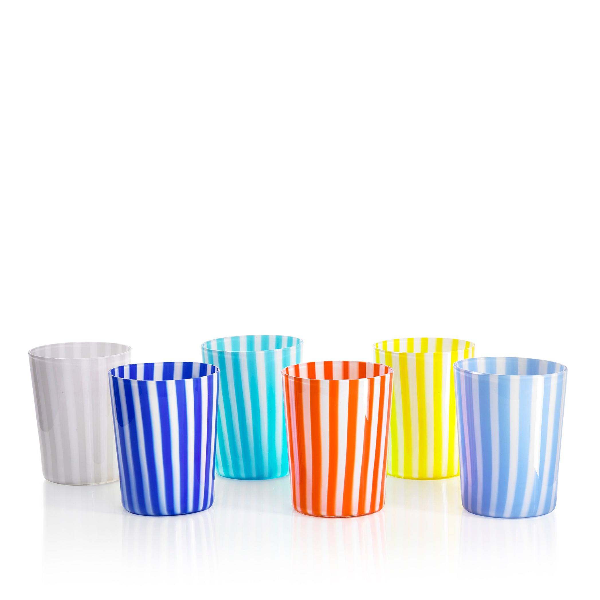 Set of Six Handblown 'Pastelli' Glass Tumblers, Designed by LPWK in Multicolour Stripe