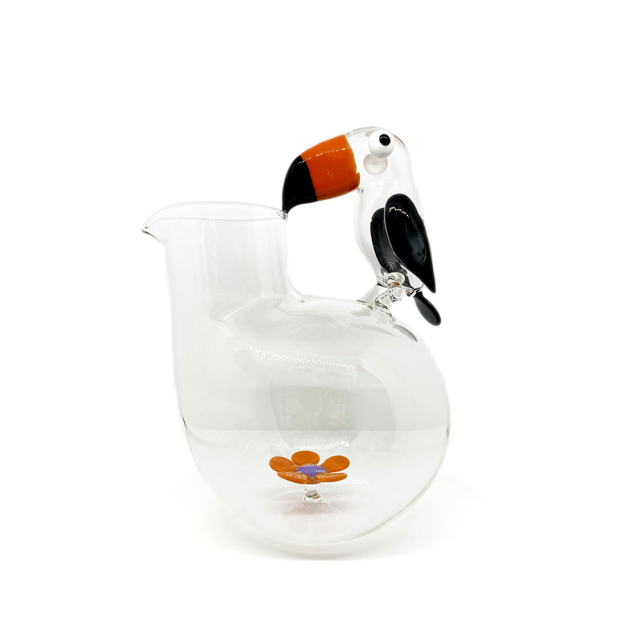 Handblown Glass Toucan and Flower Jug