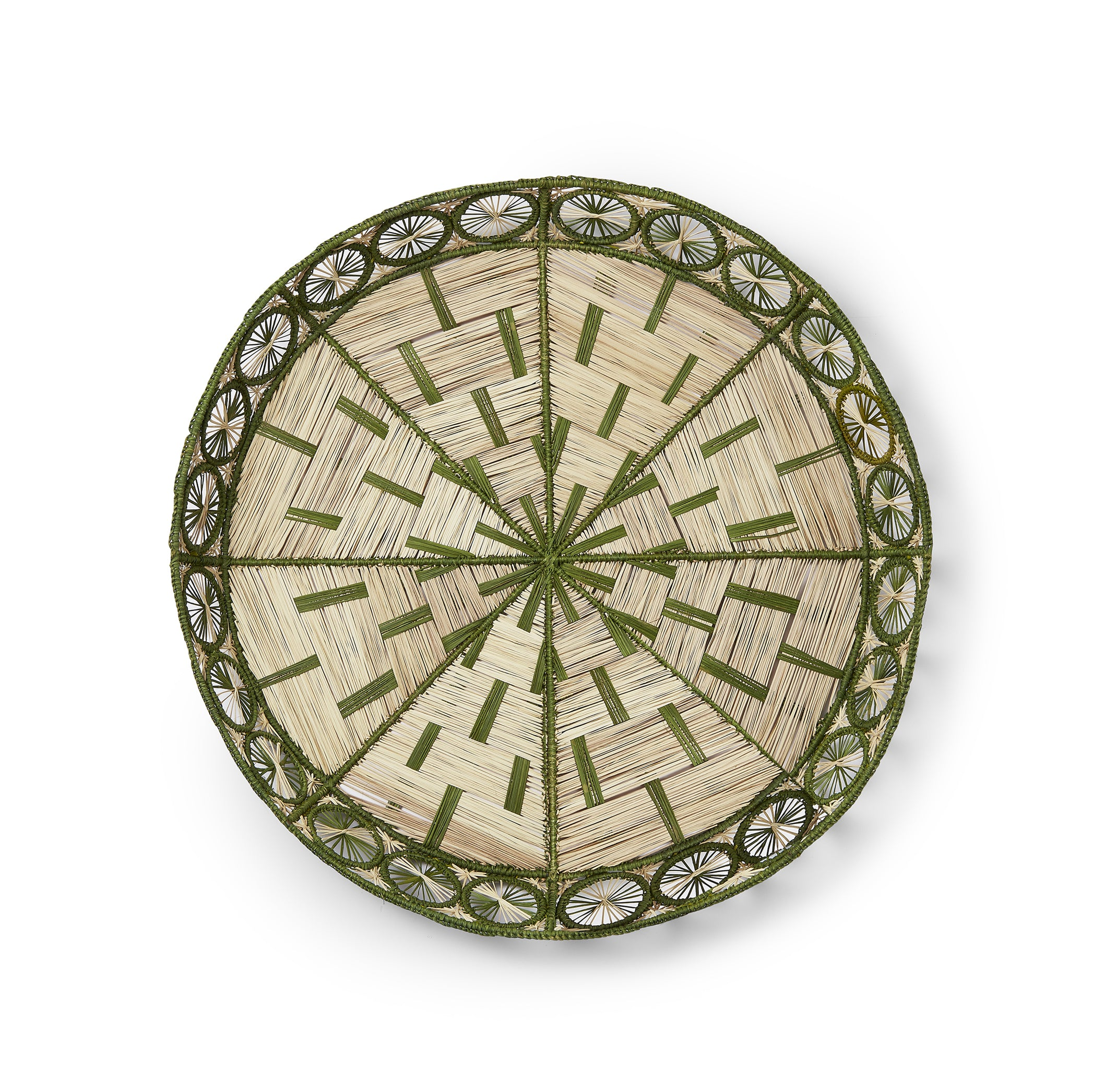 Handwoven Round Tray in Natural and Green, 50cm