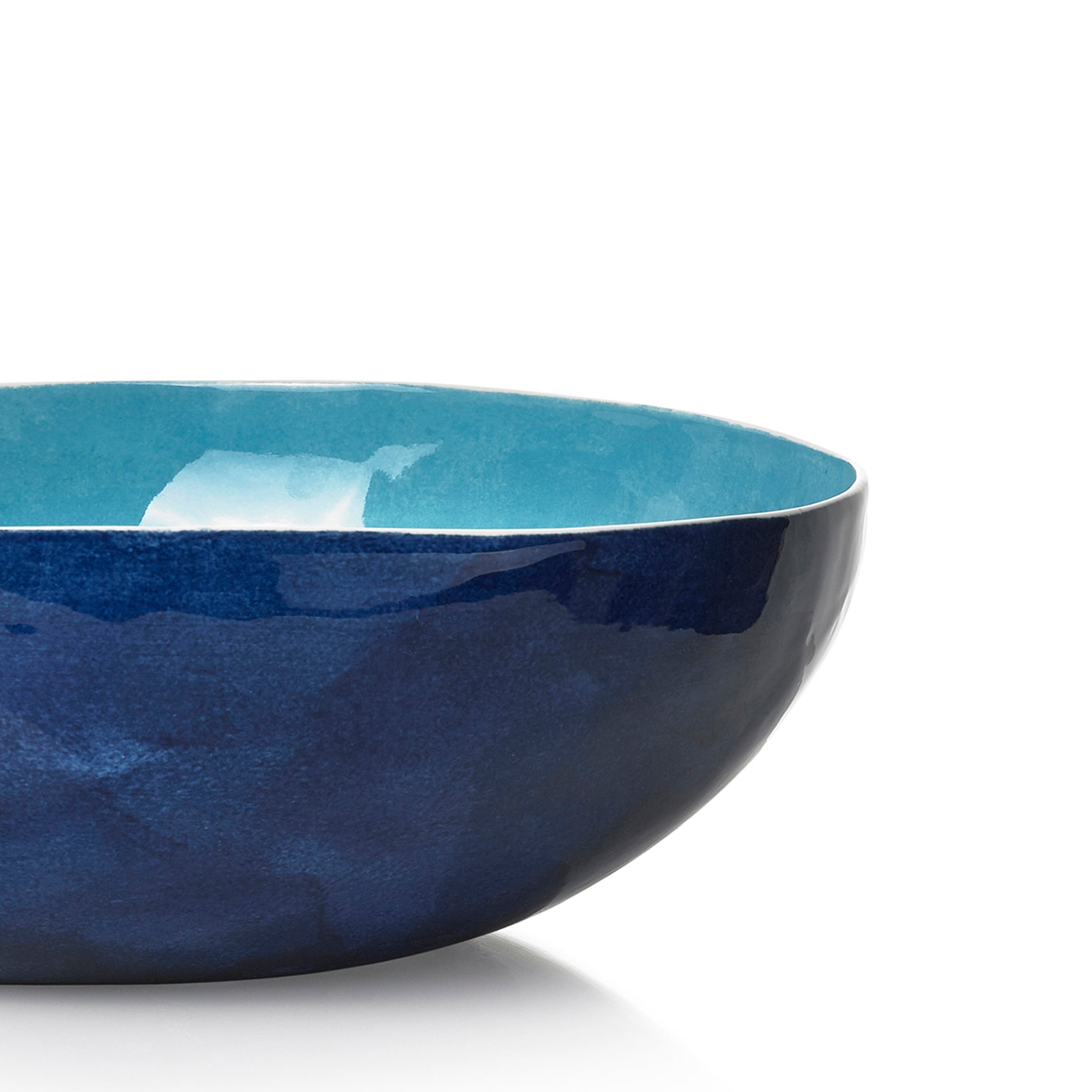 S&B Handmade 30cm Porcelain Medium Salad Bowl in Two Tone Blue