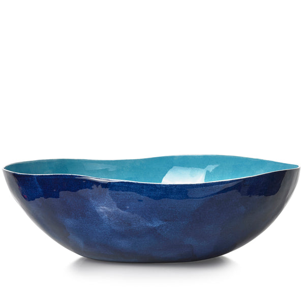 S&B Handmade 43cm Porcelain Extra Large Salad Bowl in Two Tone Blue