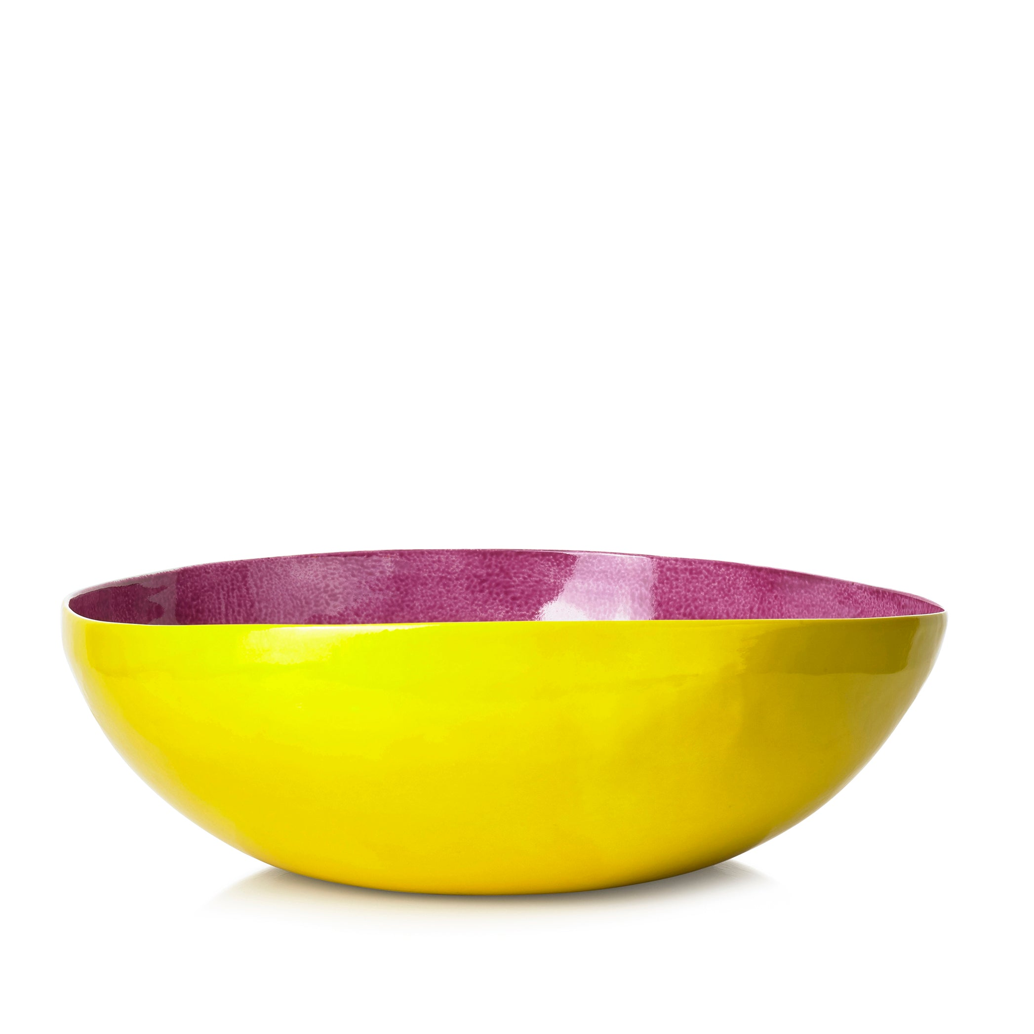 S&B Handmade 30cm Porcelain Medium Salad Bowl in Two Tone Pink and Yellow