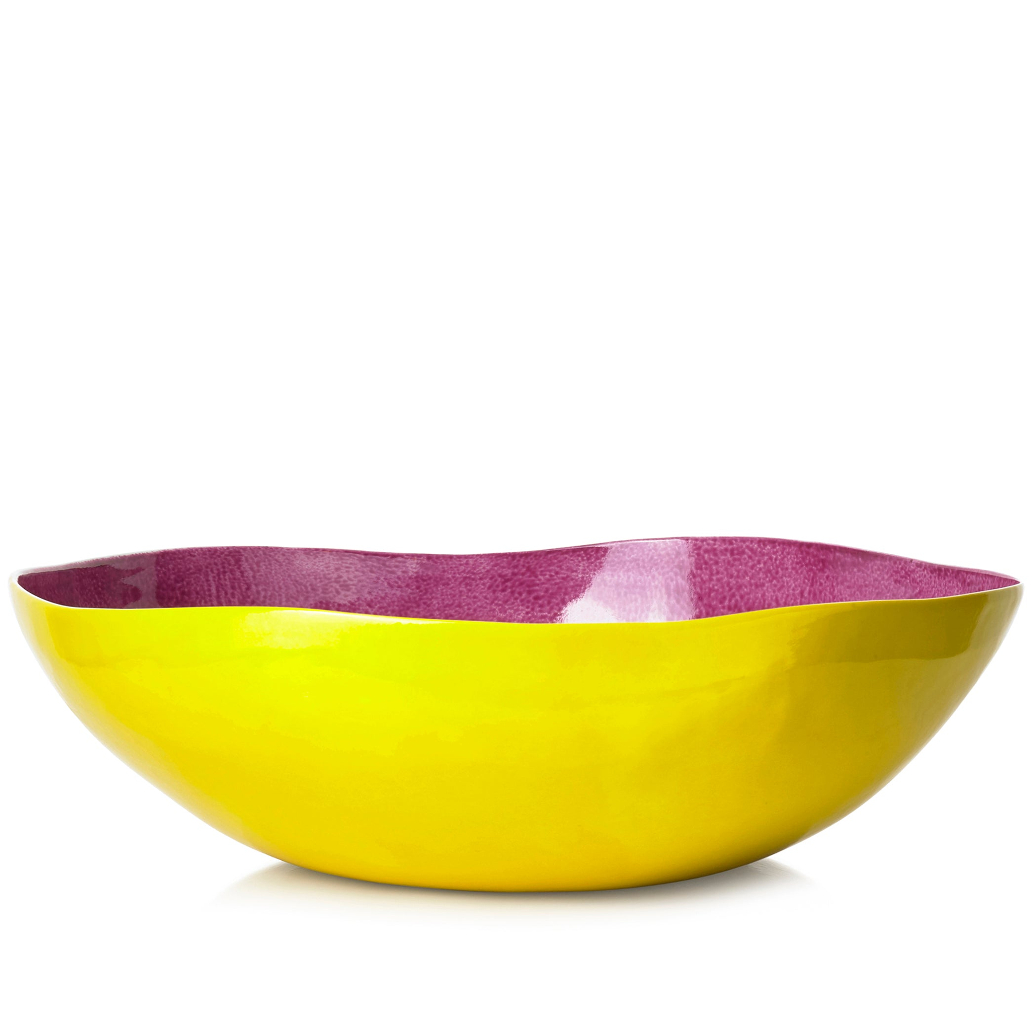 S&B Handmade 43cm Porcelain Extra Large Salad Bowl in Two Tone Pink and Yellow