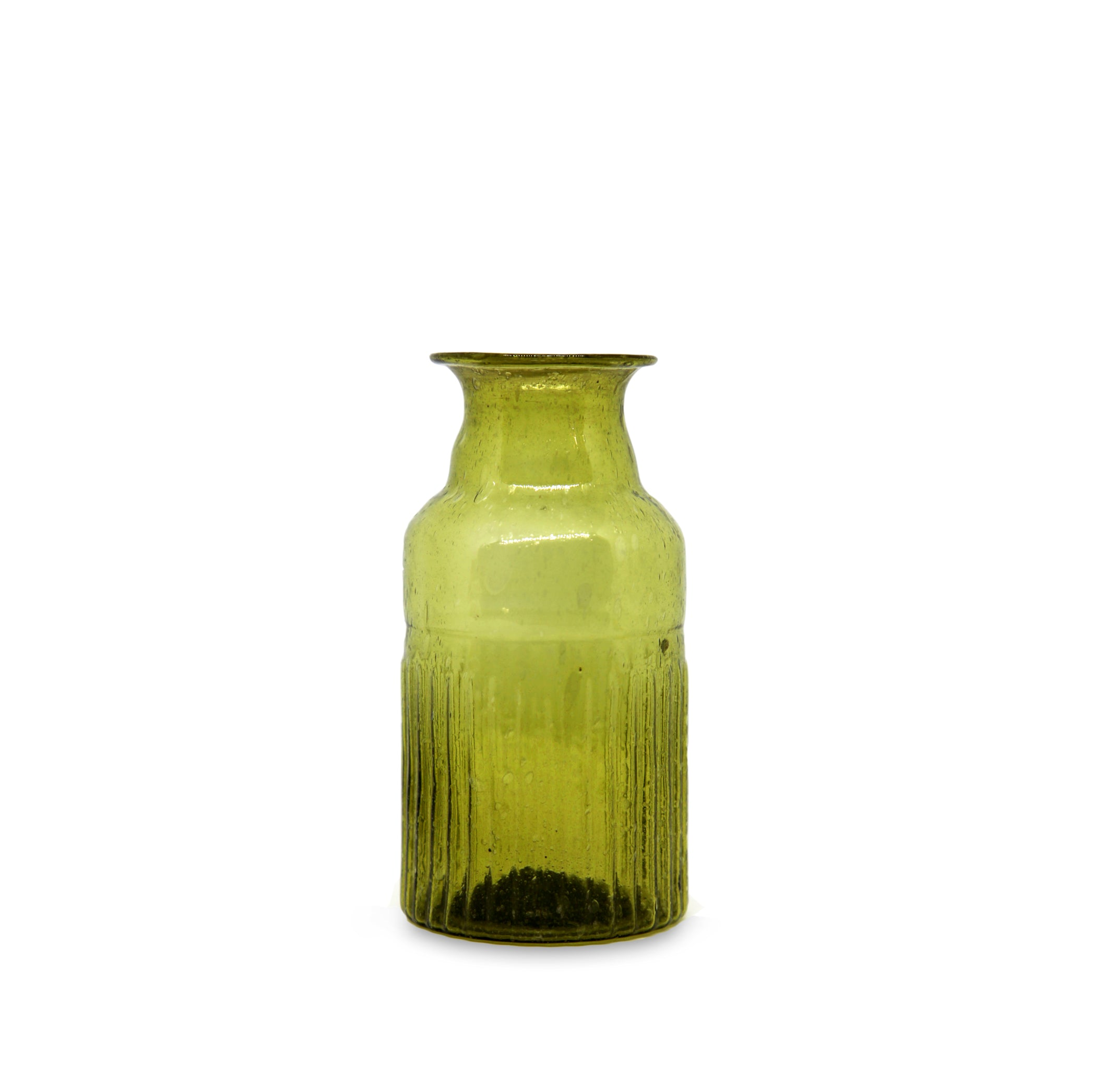 Recycled Glass Ribbed Bottle in Green, 13cm