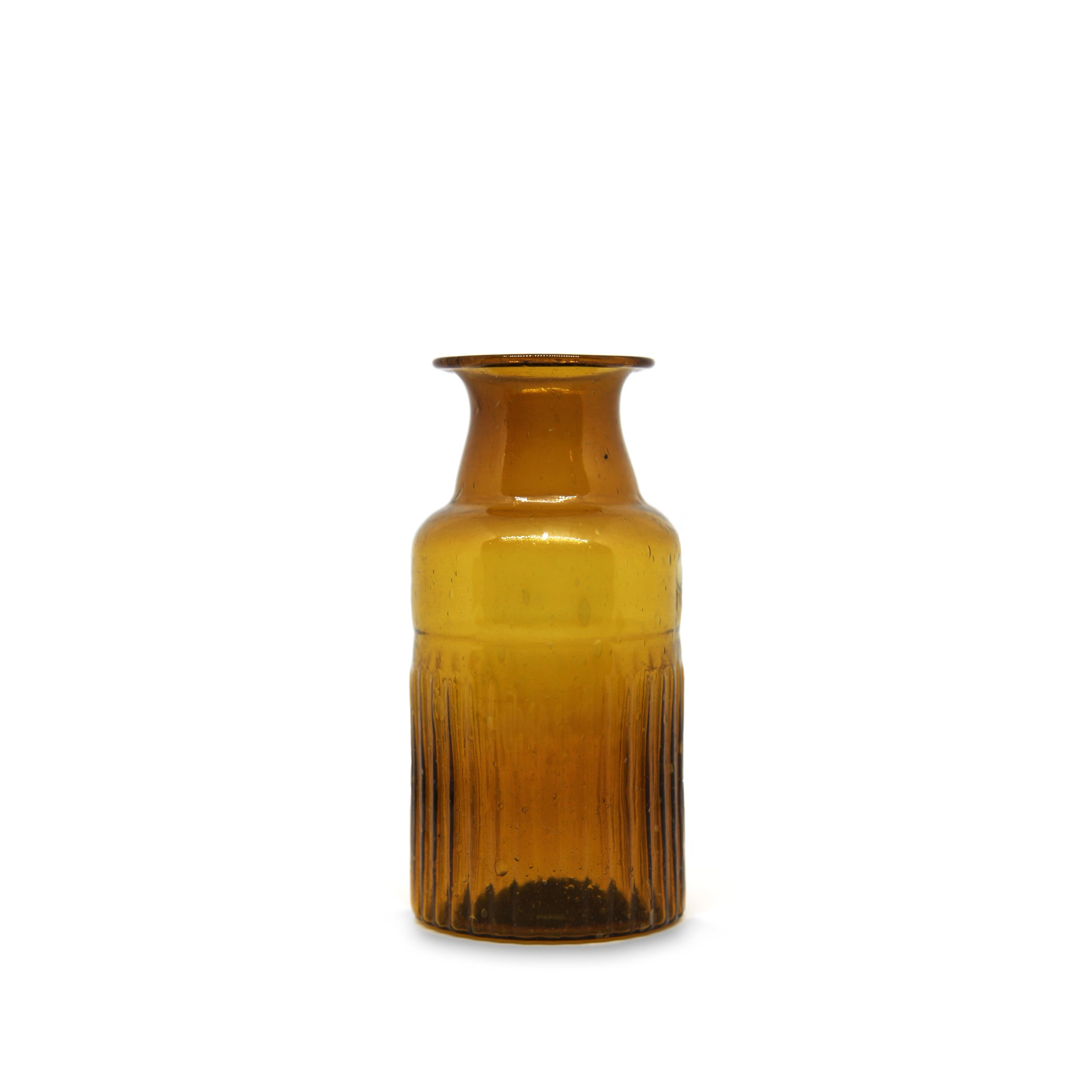 Recycled Glass Ribbed Bottle in Amber, 13cm