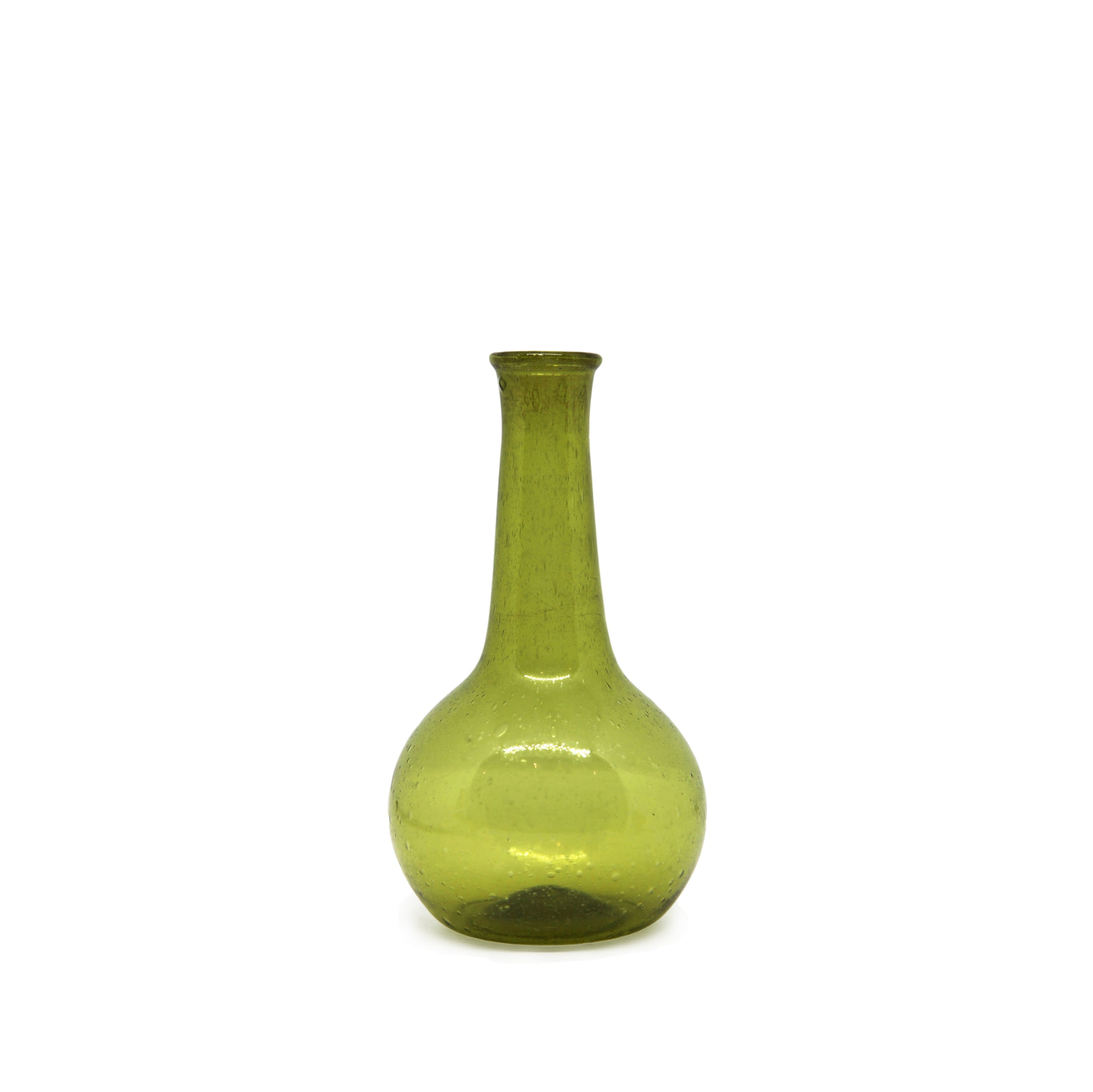 Recycled Glass Pharmacy Vase in Green, 12cm