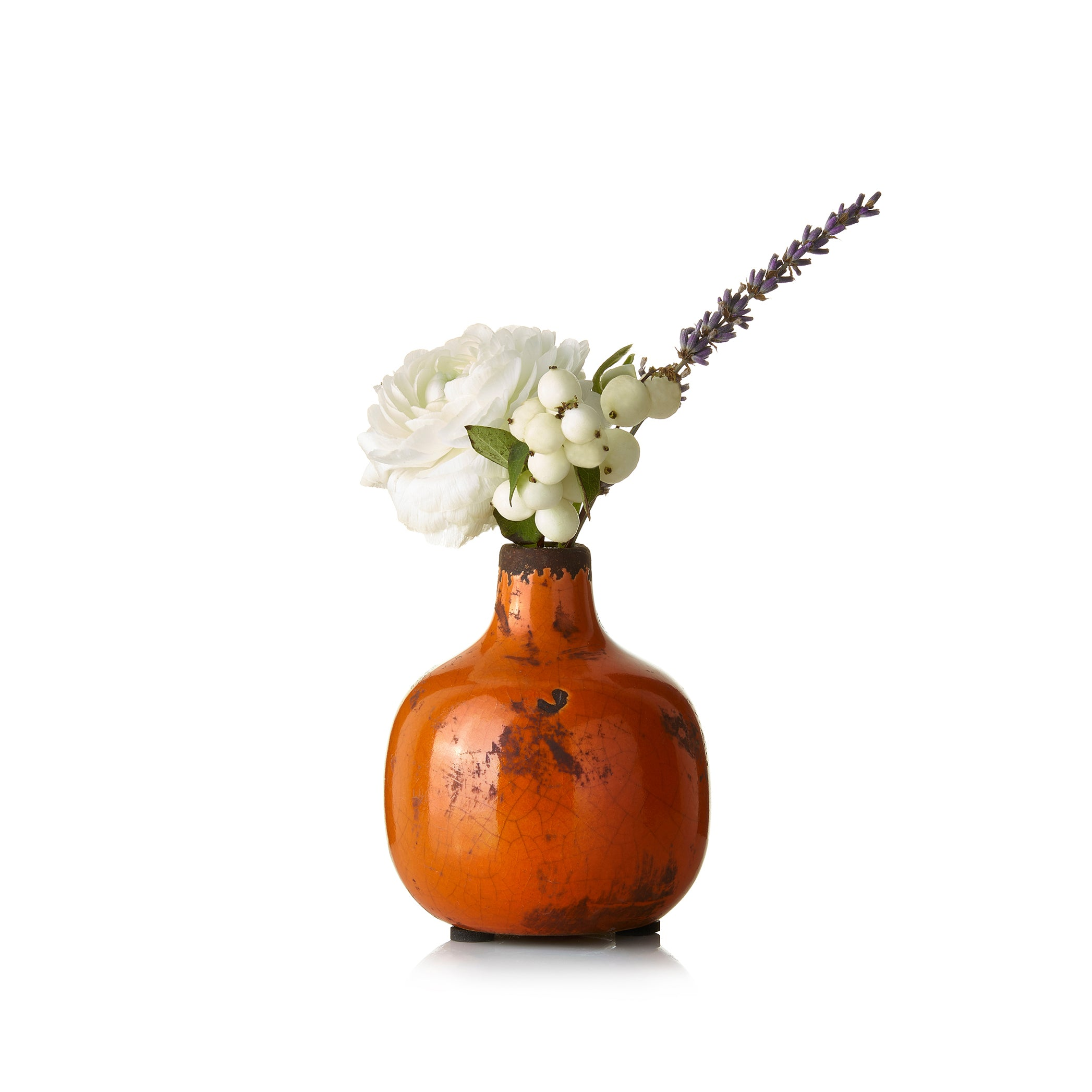 Ceramic Crackled Vase in Orange