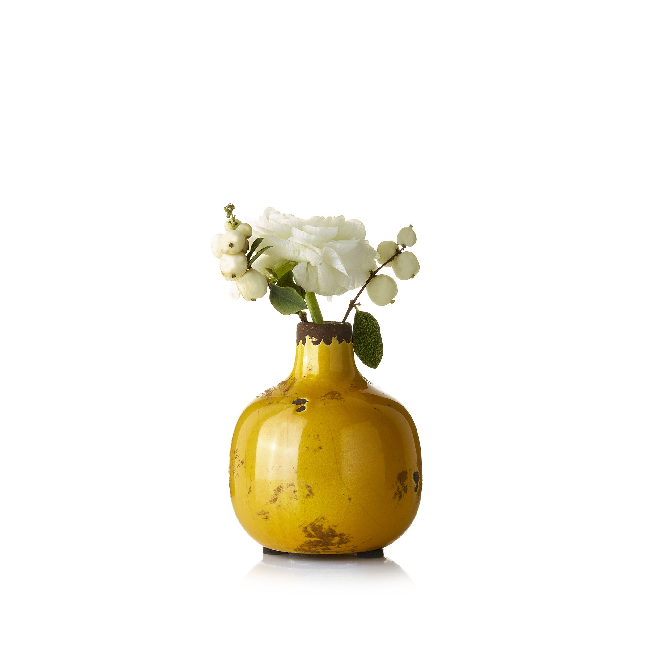 Ceramic Crackled Vase in Yellow