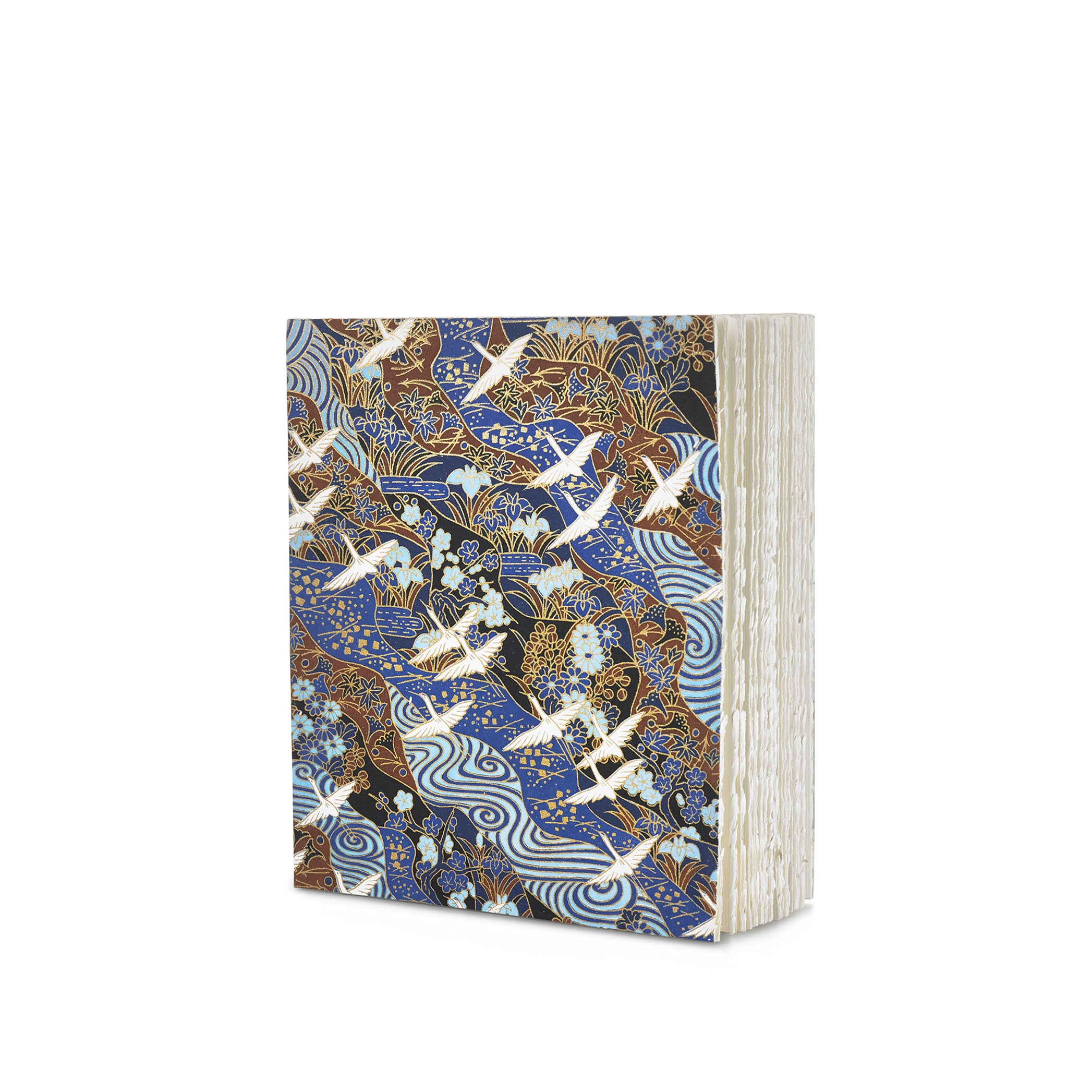 Handprinted Japanese Chiyogami Covered Sketchbook, Birds on Black, Blue and Brown