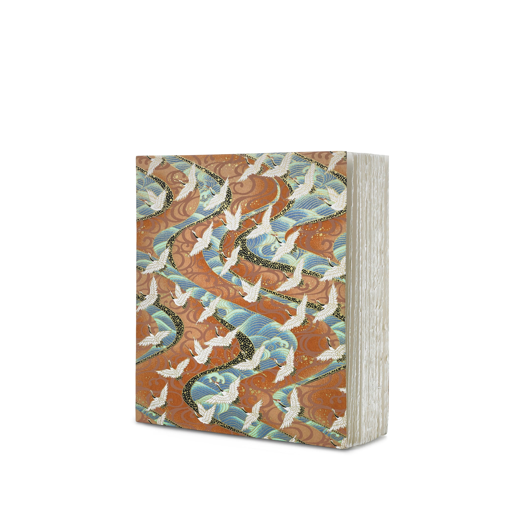 Handprinted Japanese Chiyogami Covered Sketchbook, Birds on Gold Background