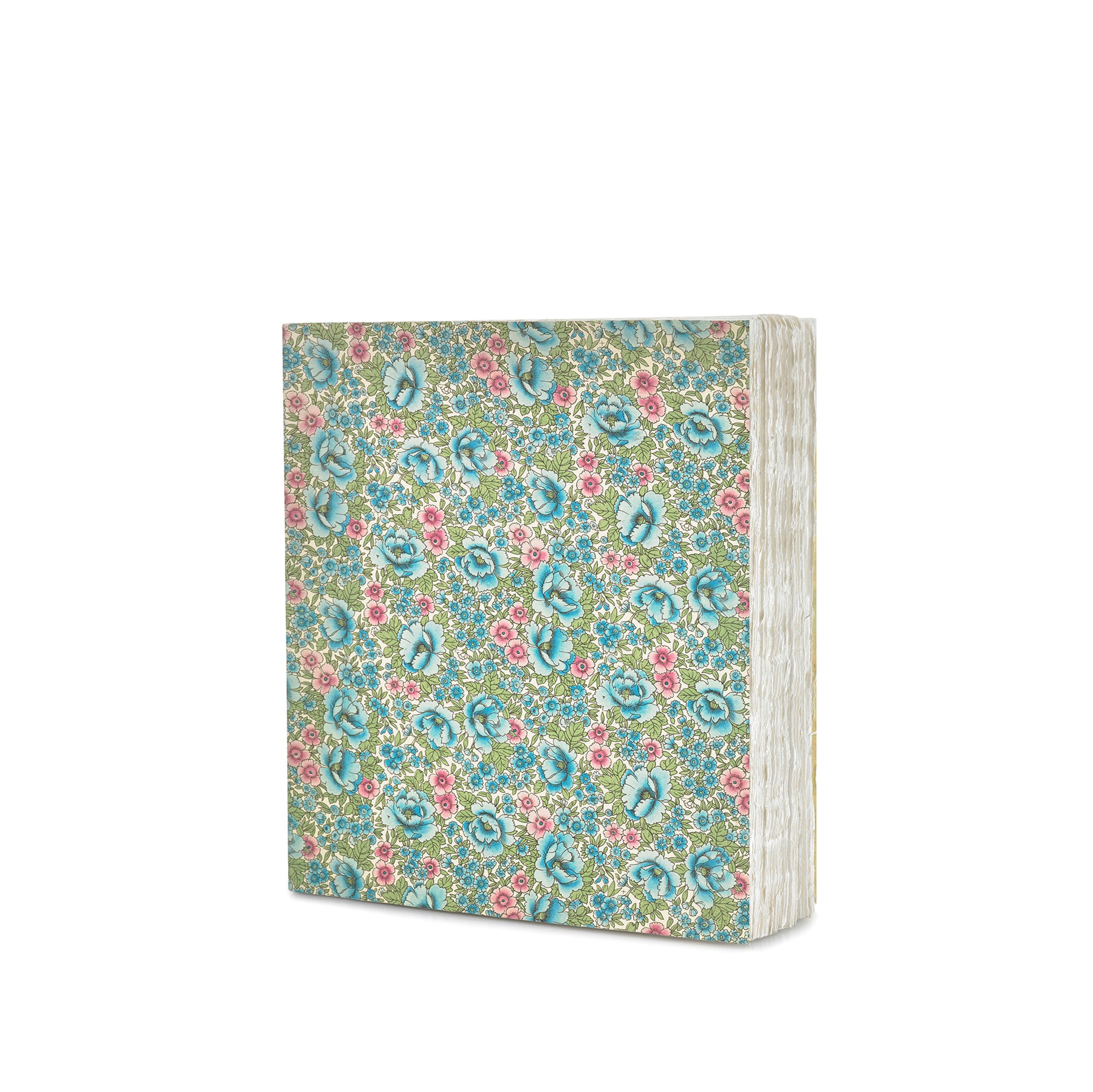 Handprinted Japanese Chiyogami Covered Sketchbook, Blue Roses