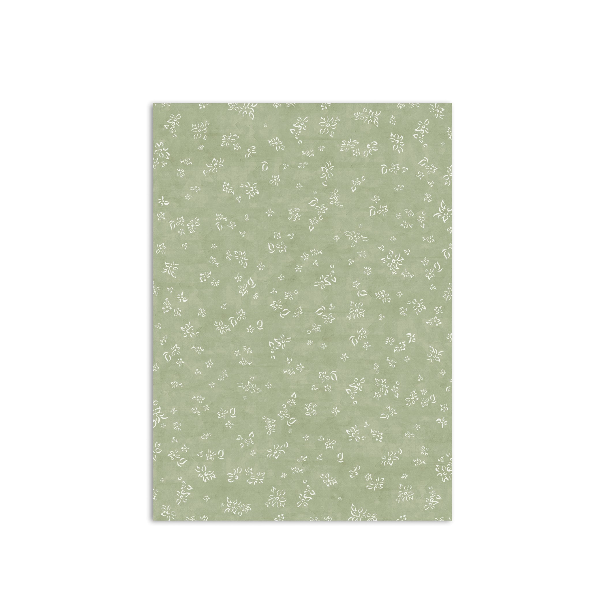 S&B Falling Flower Wrapping Paper in Pale Green, Roll of 4
