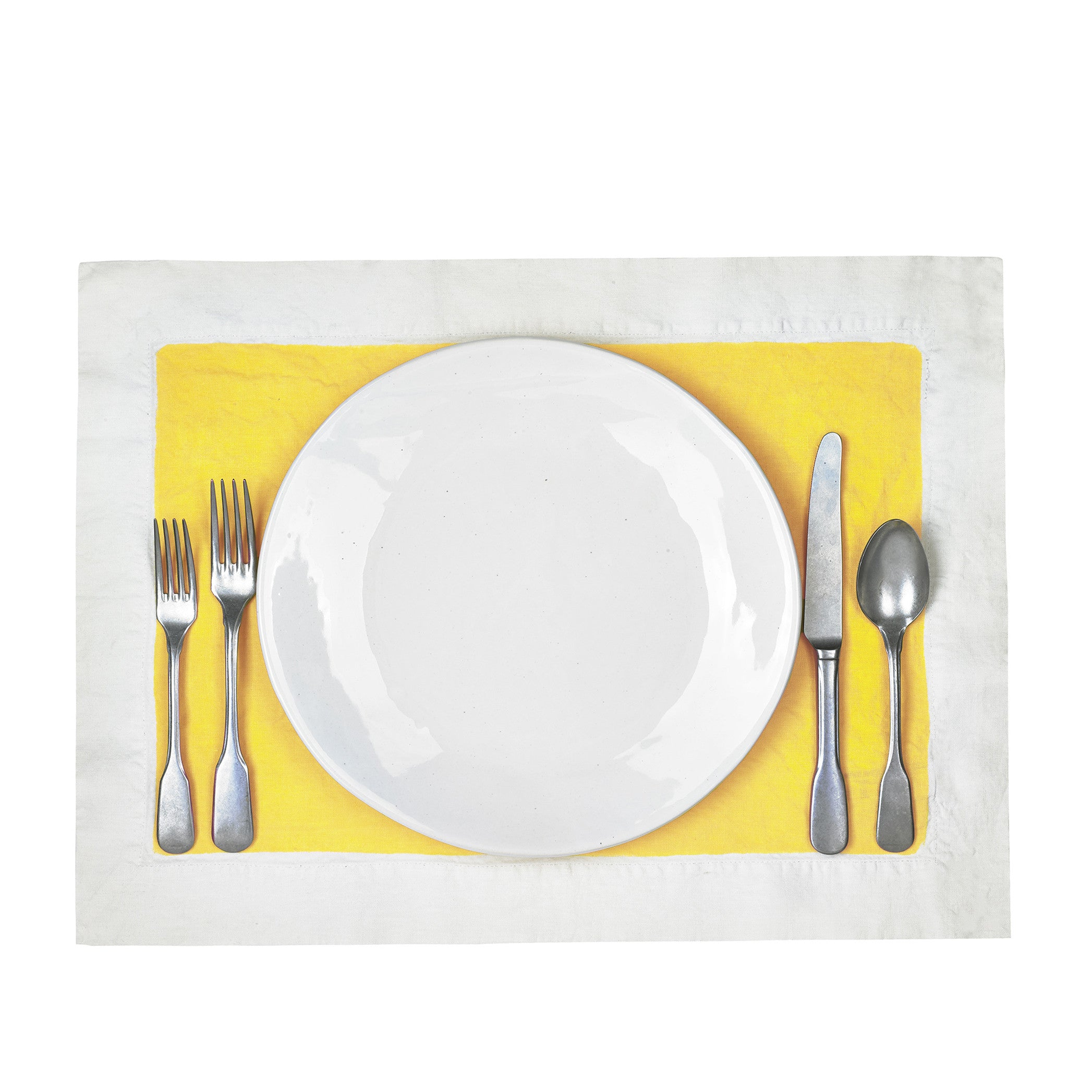 Hand Painted Full Field Linen Placemat in Lemon Yellow
