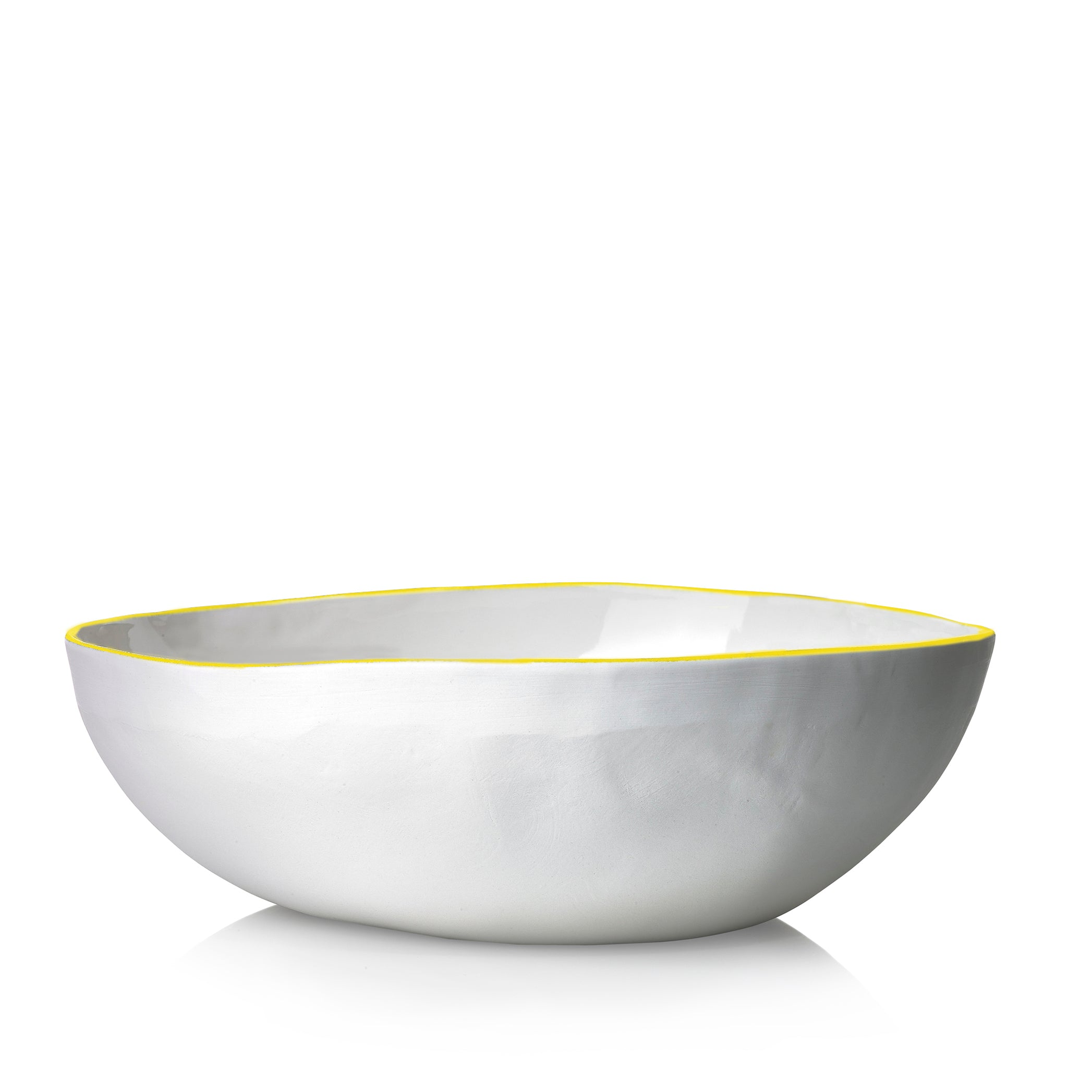 S&B Handmade 30cm Porcelain Medium Salad Bowl with Yellow Rim