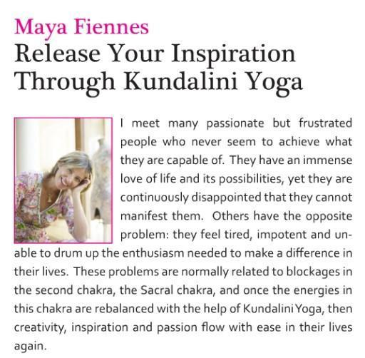 Release Your Inspiration Through Kundalini Yoga - Maya Fiennes