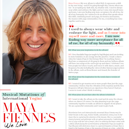 Maya Fiennes in Mantra Yoga and Health Magazine