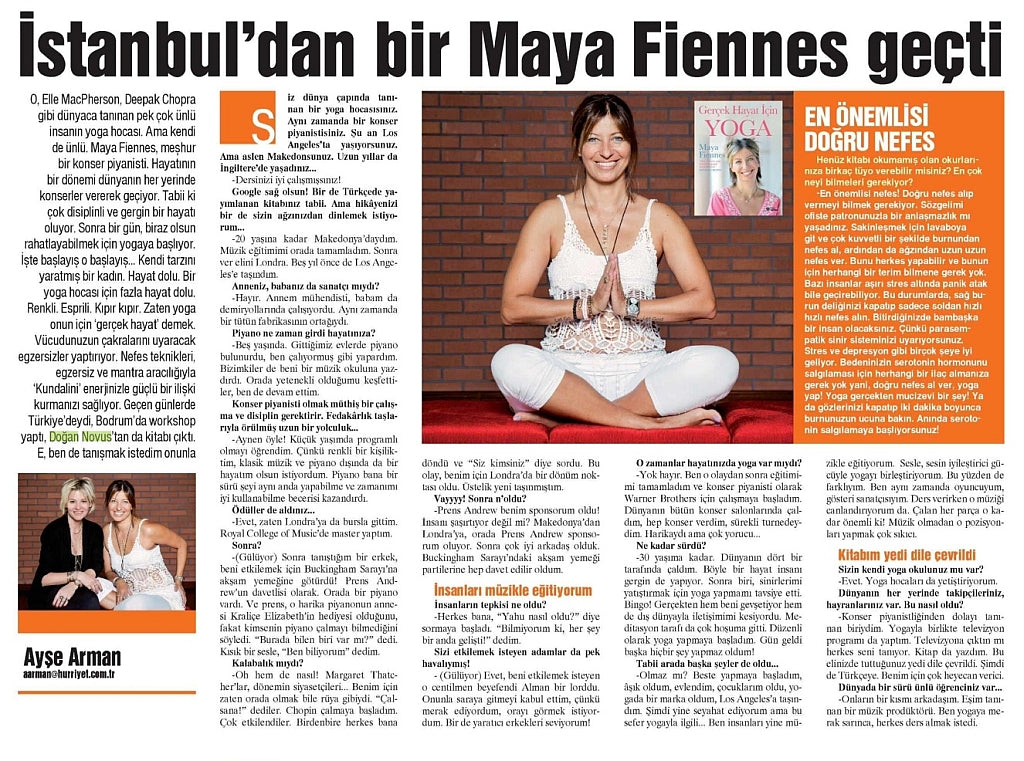 Maya Fiennes interviewed by Ayse Arman for Hurriyet, Turkey, April 2015