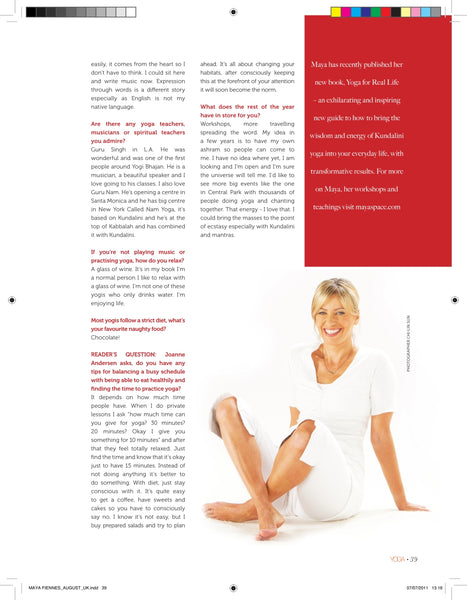 Maya Fiennes Yoga Magazine August 2011 - Page 5