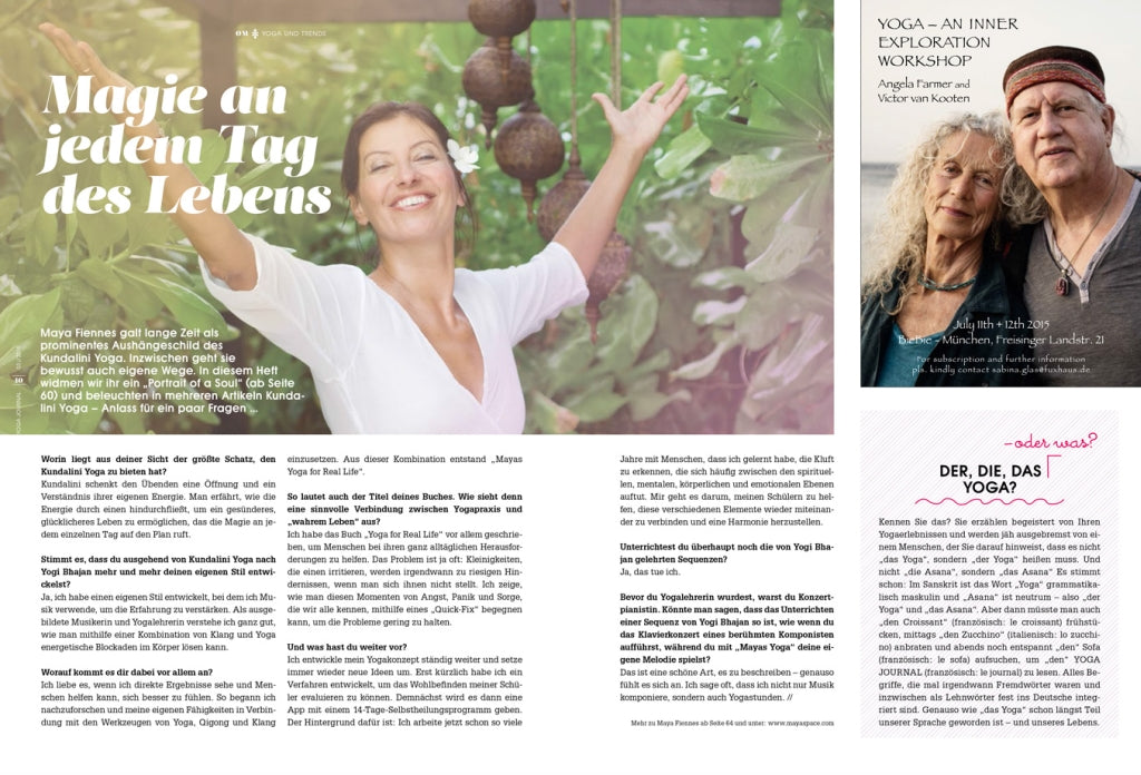 Maya Fiennes in Yoga Journal Germany May/June 2015