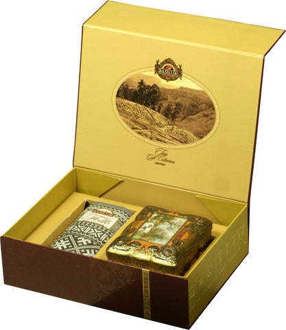 CORPORATE CHRISTMAS TEA GIFT COLLECTION - Basilur Amber Treasure collection & Folk Knitted Black & White