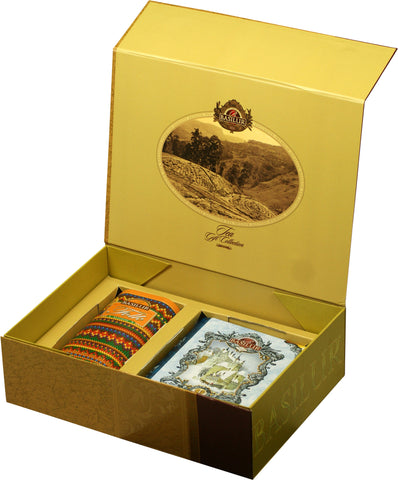 CORPORATE CHRISTMAS GIFT COLLECTION (Gold) - Basilur Blue Tea Book 1 & Folk Rainbow Knitted collection