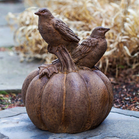 Birds on Pumpkin Cast Stone Garden Statue