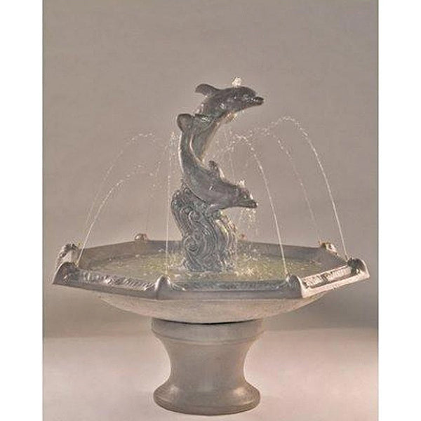 Dolphins Garden Fountain with Octagon Bowl