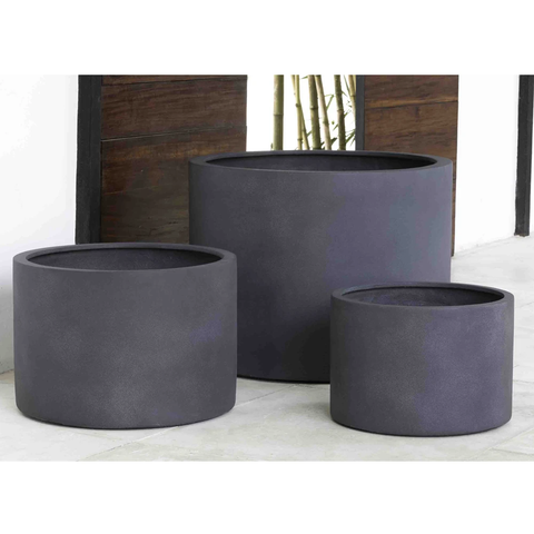 Kent Cylinder Planters - Set of 3 in Lead Lite by Outdoor Art Pros