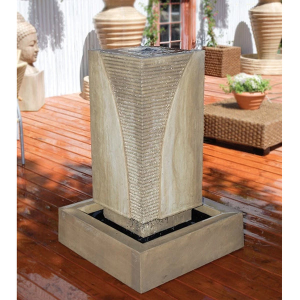 Ribbed Monolith Garden Water Fountain